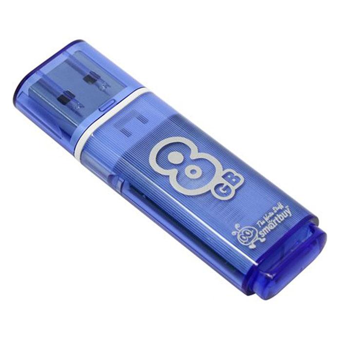 SmartBuy Glossy Series 8GB, Blue USB-накопительSB8GBGS-BКорпус USB-накопителя SmartBuy Glossy Series 8GB сделан из прозрачного пластика с белой полоской, проходящей между корпусом и колпачком. Glossy оборудован специальной системой для крепления колпачка - с помощью скобки он фиксируется между двумя выступающими пластинками на устройстве. Это очень удобно и минимизирует вероятность потери защитного колпачка. За эту же скобку устройство можно прикрепить к шнурку, чтобы накопитель всегда был под рукой.Пропускная способность интерфейса: 480 Мбит/секСовместим с: Windows 7, Windows 8, Windows Vista, Windows XP, Windows 2000, Linux, MAC OS X