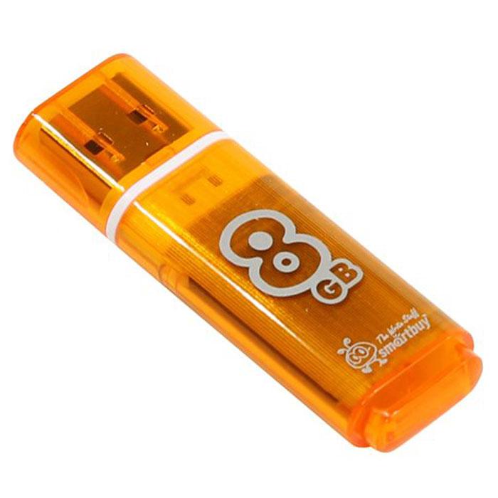 SmartBuy Glossy Series 8GB, Orange USB-накопительSB8GBGS-OrКорпус USB-накопителя SmartBuy Glossy Series 8GB сделан из прозрачного пластика с белой полоской, проходящей между корпусом и колпачком. Glossy оборудован специальной системой для крепления колпачка - с помощью скобки он фиксируется между двумя выступающими пластинками на устройстве. Это очень удобно и минимизирует вероятность потери защитного колпачка. За эту же скобку устройство можно прикрепить к шнурку, чтобы накопитель всегда был под рукой.Пропускная способность интерфейса: 480 Мбит/секСовместим с: Windows 7, Windows 8, Windows Vista, Windows XP, Windows 2000, Linux, MAC OS X