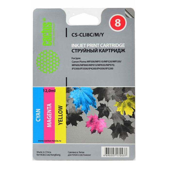 Cactus СS-CLI8C/M/Y, Color комплект струйных катриджей для Canon PIXMA MP470/ MP500/ MP530СS-CLI8C/M/YКомплект цветных картриджей Cactus СS-CLI8C/M/Y для струйных принтеров Canon. Содержит картриджи: CLI-8C (голубой), CLI-8M (пурпурный), CLI-8Y (желтый).
