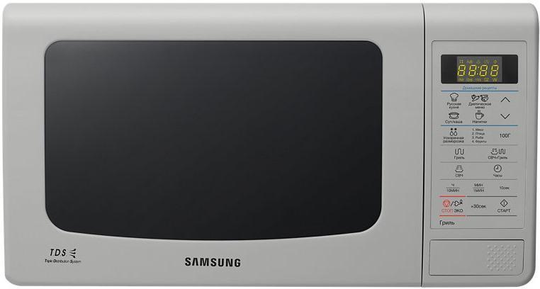 Samsung GE83KRS-3 СВЧ-печьGE-83KRS-3Большинство покупателей хочет, чтобы их микроволновая печьобладала большой вместительностью, но в то же время была компактной. Повысоте и ширине данная модель не отличается от 20-литровой,глубина печи увеличилась всего на 12 мм, за счет чего внутреннийобъем стал на 3 литра больше. Расширилась и полезная площадь камеры:теперь в печи могут с легкостью уместиться блюда до 388 мм вдиаметре. Во всех микроволновых печах Samsung, используетсяБИОкерамическое покрытие камеры. Этот материал экологически безопасен, еголегко очищать от загрязнений. Он в 10 раз более устойчив кцарапинам, чем, например, нержавеющая сталь. Покрытие прочное игладкое, на нем почти не остается нагара. БИОкерамика обладает низкойтеплопроводностью, это сокращает время приготовления и уменьшаеттеплопотери. Кроме того, БИОкерамическое покрытие обладает ещеодним полезным свойством — материал препятствует размножениюбактерий на 99,9%.
