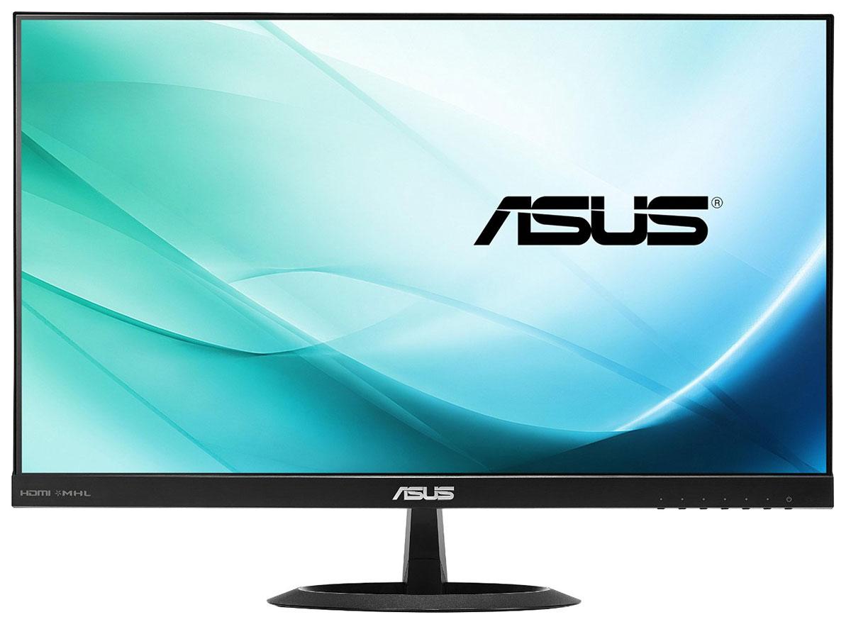 ASUS VX24AH монитор90LM0110-B01370Широкоформатный монитор Asus VX24AH с разрешением 2560x1440 пикселей, светодиодной подсветкой и великолепными углами обзора на уровне 178°. Большой экран позволяет с удобством разместить множество окошек приложений и вспомогательных панелей для комфортной работы, а точная цветопередача поможет увидеть на экране именно то, что получится на печати. В монитор встроены два 2-ваттных динамика, а для подключения к источнику видеосигнала служат интерфейсы HDMI.Видеть больше и лучше:Монитор VX24AH обладает высоким разрешением 2560x1440 пикселей, поэтому он позволяет увидеть больше, чем обычные мониторы с низким разрешением. Это особенно важно при использовании профессиональных приложений, связанных с обработкой высококачественных изображений большого размера.И для работы, и для развлечений:Монитор VX24AH может похвастать широкими углами обзора (на уровне 178°) как по горизонтали, так и по вертикали. Благодаря этому изображение практически не претерпевает каких-либо искажений цветопередачи при изменении угла, под которым пользователь смотрит на экран. Быстрое среднее время отклика – всего 5 мс при переключении между полутонами – обеспечивает отсутствие темных «шлейфов» позади движущихся объектов и плавное воспроизведение видео.Поддержка формата WQHD:Модель VX24AH оснащена полным комплектом современных видеоинтерфейсов, который включает в себя HDMI и D-Sub. Таким образом, его можно без проблем подключить практически к любому источнику видеосигнала, причем поддержка стандарта MHL означает возможность воспроизведения контента с HDMI-совместимого мобильного устройства при одновременной его подзарядке. Кроме того, этот монитор обладает двумя встроенными 2-ваттными динамиками.Виртуальная линейка ASUS QuickFit:ASUS QuickFit представляет собой виртуальную линейку, которую можно отобразить на экране нажатием горячей клавиши, чтобы понять, насколько изображение соответствует тому или иному формату, не распечатывая его на бумаге.Эксклюзивные технологии
