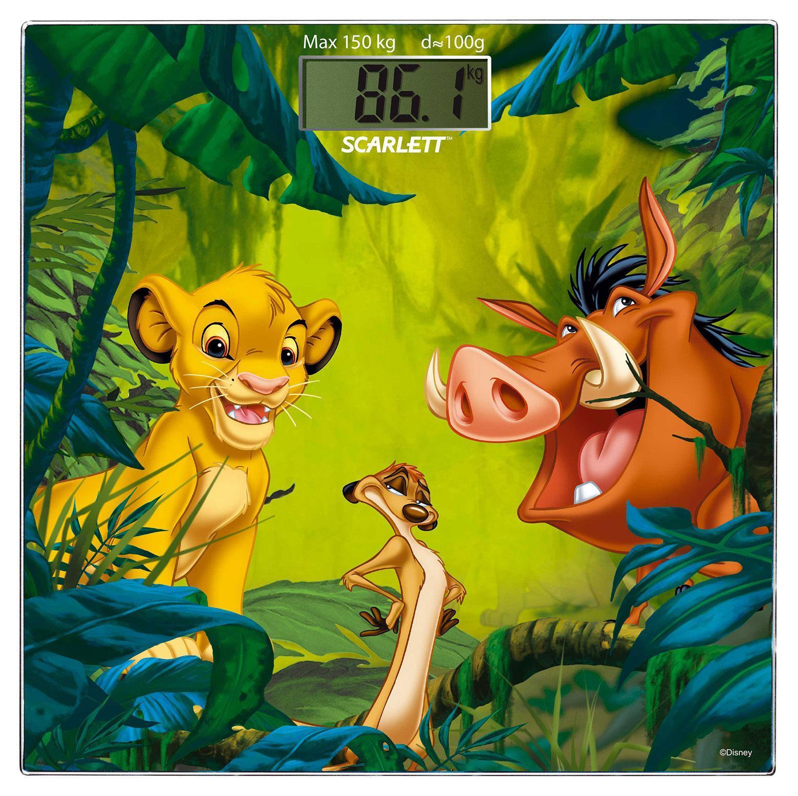 Scarlett SC-BSD33E894 Lion King весы напольные электронныеSC-BSD33E894Напольные весы Scarlett SC-BSD33E894 изготовлены из ударопрочного стекла (толщина платформы всего 5 мм) и оформлены изображениями главных персонажей известного мультфильма Король лев. Весы имеют стандартную точность измерения, равную 100 грамм. Устройство измеряет массу тела в килограммах и работает от батарейки типа CR2032(1 шт). Электронный дисплей размером 74 х 28,5 мм отображает большие цифры, которые можно будет увидеть с высоты человеческого роста. Также данная модель имеет прорезиненные ножки, для большей устойчивости.