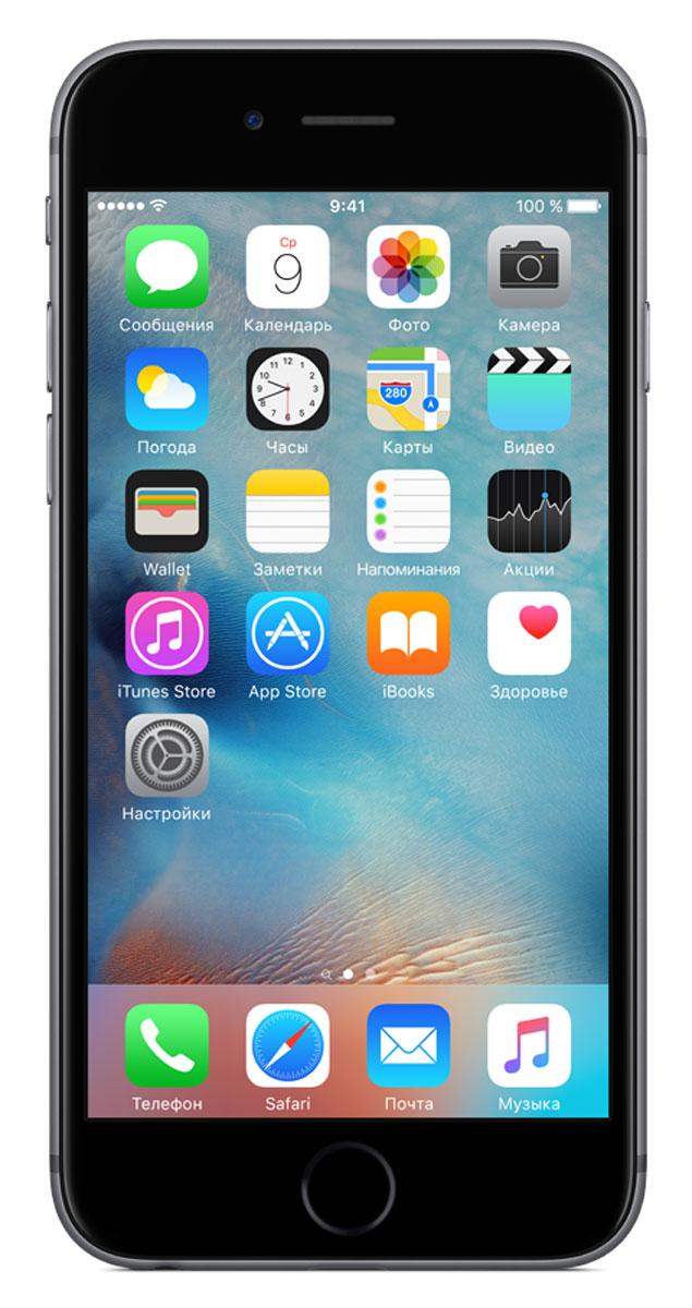 Apple iPhone 6s 128GB, GreyMKQT2RU/AApple iPhone 6s Plus - смартфон, едва начав пользоваться которым, вы сразу почувствуете, насколько все изменилось к лучшему. Технология 3D Touch открывает потрясающие новые возможности - достаточно одного нажатия. А функция Live Photos позволяет буквально оживить ваши воспоминания. И это только начало. Присмотритесь к iPhone 6s Plus внимательнее, и вы увидите инновации на всех уровнях. Новое поколение Multi-TouchС появлением iPhone мир узнал о технологии Multi-Touch, которая навсегда изменила способ взаимодействия с устройствами. Технология 3D Touch открывает совершенно новые возможности. Она позволяет различать силу нажатия на дисплей, что делает многие функции быстрее и удобнее. Кроме того, телефон реагирует на каждый жест лёгким тактильным откликом благодаря использованию нового привода Taptic Engine. 12-мегапиксельные фотографии. Видео 4К. Live Photos12-мегапиксельная камера iSight делает чёткие и детальные снимки, а также позволяет снимать потрясающие видео 4K с разрешением почти в четыре раза больше, чем в HD-видео 1080p. А 5-мегапиксельная HD-камера FaceTime позволяет делать отличные селфи. Кроме того, теперь у вас есть возможность снимать Live Photos, на которых буквально оживают самые дорогие воспоминания. Эта функция записывает несколько мгновений до и после съёмки фотографии, что позволяет посмотреть её в движении, сделав одно нажатие.A9. Самый передовой процессор для смартфонаiPhone 6s Plus оснащён специально разработанным процессором A9 с 64-битной архитектурой. Теперь его производительность достигает уровня, который раньше демонстрировали только настольные компьютеры. Скорость процессора iPhone 6s до 70% выше, чем у моделей предыдущего поколения, а графический процессор работает на 90% быстрее, обеспечивая мгновенный отклик в ресурсоёмких приложениях и играх.Выдающийся дизайнИнновации не всегда очевидны, но присмотревшись к iPhone 6s Plus внимательнее, вы увидите фундаментальные перемены. Корпус изготовлен из нового 