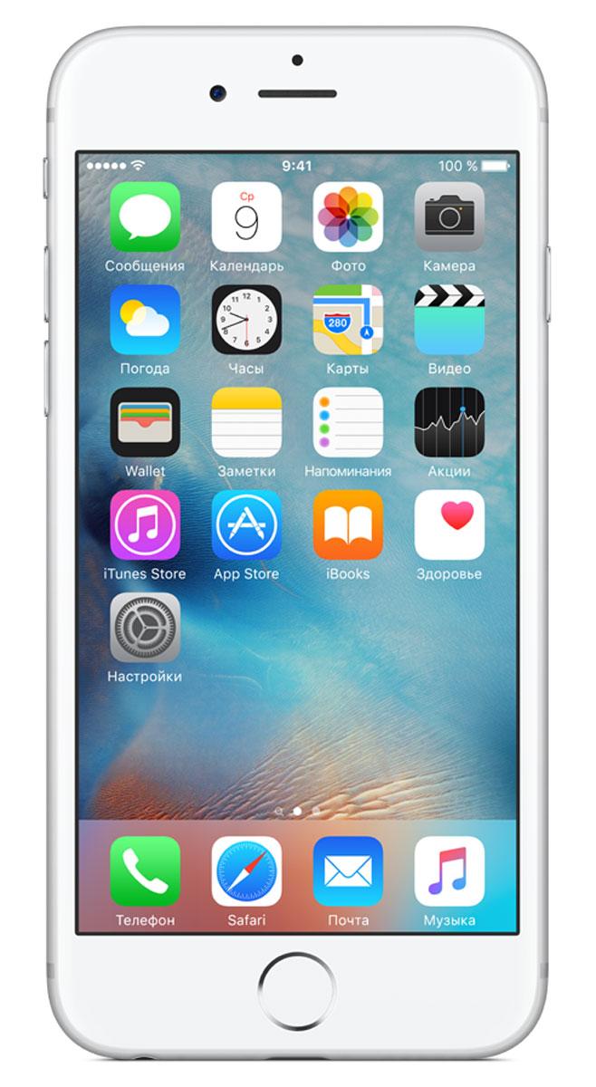 Apple iPhone 6s 128GB, SilverMKQU2RU/AApple iPhone 6s - смартфон, едва начав пользоваться которым, вы сразу почувствуйте, насколько все изменилось к лучшему. Технология 3D Touch открывает потрясающие новые возможности - достаточно одного нажатия. А функция Live Photos позволяет буквально оживить ваши воспоминания. И это только начало. Присмотритесь к iPhone 6s внимательнее, и вы увидите инновации на всех уровнях.Новое поколение Multi-TouchС появлением iPhone мир узнал о технологии Multi-Touch, которая навсегда изменила способ взаимодействия с устройствами. Технология 3D Touch открывает совершенно новые возможности. Она позволяет различать силу нажатия на дисплей, что делает многие функции быстрее и удобнее. Кроме того, телефон реагирует на каждый жест лёгким тактильным откликом благодаря использованию нового привода Taptic Engine.12-мегапиксельные фотографии. Видео 4К. Live Photos12-мегапиксельная камера iSight делает чёткие и детальные снимки, а также позволяет снимать потрясающие видео 4K с разрешением почти в четыре раза больше, чем в HD-видео 1080p. А 5-мегапиксельная HD-камера FaceTime позволяет делать отличные селфи. Кроме того, теперь у вас есть возможность снимать Live Photos, на которых буквально оживают самые дорогие воспоминания. Эта функция записывает несколько мгновений до и после съёмки фотографии, что позволяет посмотреть её в движении, сделав одно нажатие.A9. Самый передовой процессор для смартфонаiPhone 6s оснащён специально разработанным процессором A9 с 64-битной архитектурой. Теперь его производительность достигает уровня, который раньше демонстрировали только настольные компьютеры. Скорость процессора iPhone 6s до 70% выше, чем у моделей предыдущего поколения, а графический процессор работает на 90% быстрее, обеспечивая мгновенный отклик в ресурсоёмких приложениях и играх.Выдающийся дизайнИнновации не всегда очевидны, но присмотревшись к iPhone 6s внимательнее, вы увидите фундаментальные перемены. Корпус изготовлен из нового сплава на основе алю