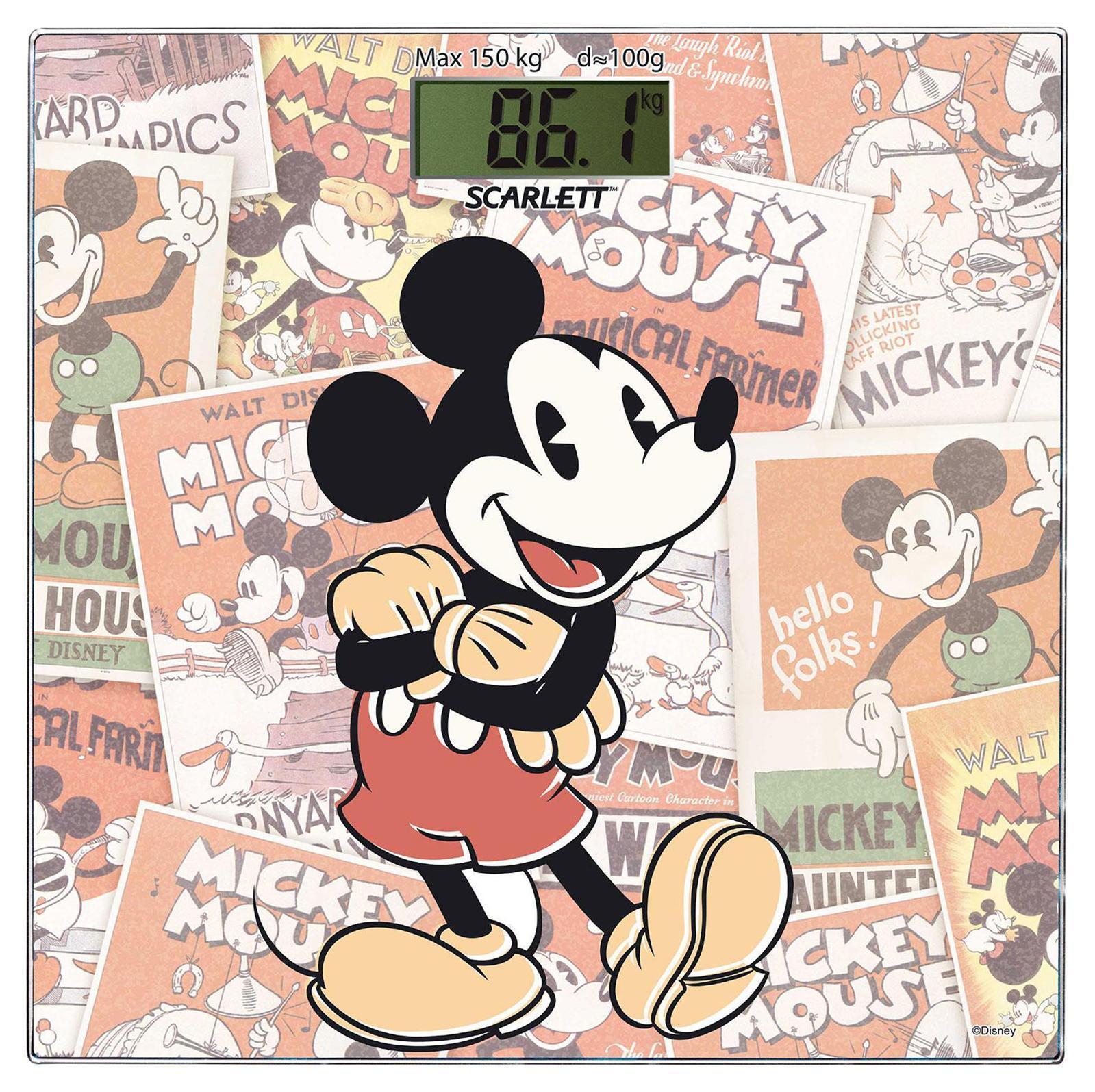 Scarlett SC-BSD33E899 Mickey Retro весы напольные электронныеSC-BSD33E899Напольные весы Scarlett SC-BSD33E899 изготовлены из ударопрочного стекла толщиной 6 мм и оформлены в изображением известного персонажа мультфильмов. Весы имеют стандартную точность измерения, равную 100 грамм. Устройство измеряет массу тела в килограммах и работает от батарейки типа CR2032(1 шт). Электронный дисплей размером 74 х 28,5 мм отображает большие цифры, которые можно будет увидеть с высоты человеческого роста. Также данная модель имеет прорезиненные ножки, для большей устойчивости.
