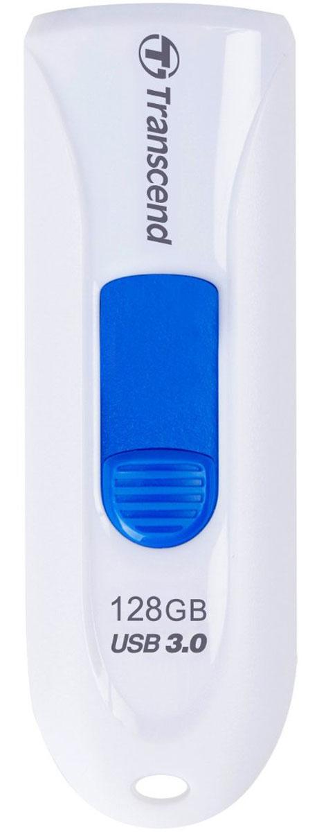 Transcend JetFlash 790 128GB, White Blue USB-накопительTS128GJF790WФлеш-накопитель Transcend JetFlash 790 оснащен выдвижным разъемом USB, что помогает сохранить данные от повреждения во время транспортировки. Просто нажмите цветной ползунок, чтобы выдвинуть разъем . JetFlash 790 поддерживает высокоскоростной интерфейс USB 3.0 и имеет большую емкость, что крайне удобно для хранения информации. Флешка с ярким и стильным дизайном привлечет внимание, а благодаря компактным размерам она будет с вами везде, куда бы вы не отправились!Пропускная способность интерфейса: 5000 Мбит/секИндикаторы: питание, активностьСовместимость: Windows 2000 / ME / XP/ Vista / 7 / 8; Mac OS 9.0, Linux Kernel 2.4.2