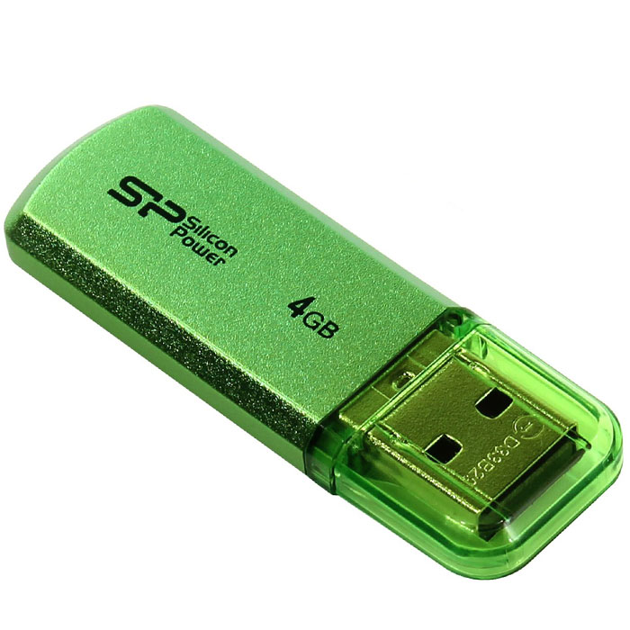 Silicon Power Helios 101 4GB, Green USB-накопительSP004GBUF2101V1NДоступный в яблочно-зеленом и лазоревом цветах новый Silicon Power Helios 101 имеет алюминиевый корпус с матовым покрытием. Silicon Power Helios 101 отражает футуристический, стильный и простой дизайн. Он тонок, легок и подходит для пользователей, следящих за модой! Helios 101 может быть прикреплен к брелоку с ключами и использоваться как аксессуар. Обладающий функцией plug&play Helios 101 - идеальный компаньон нетбука!ПО SP Widget с 7 основными функциями для защиты данных:Синхронизация и Резервное копирование Мои ДокументыСинхронизация и Резервное копирование других папокСинхронизация и Резервное копирование Outlook/Outlook expressКопирование и шифрование данных на USB носительЗагрузка 60-дневной пробной версии Symantec Norton Internet security бесплатноСинхронизация и Резервное копирование папки ИзбранноеБлокирование компьютера паролем, по времени или USB накопителем