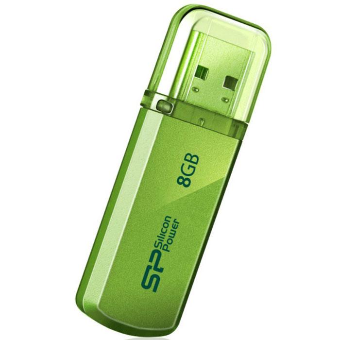 Silicon Power Helios 101 8GB, Green USB-накопительSP008GBUF2101V1NДоступный в яблочно-зеленом и лазоревом цветах новый Silicon Power Helios 101 имеет алюминиевый корпус с матовым покрытием. Silicon Power Helios 101 отражает футуристический, стильный и простой дизайн. Он тонок, легок и подходит для пользователей, следящих за модой! Helios 101 может быть прикреплен к брелоку с ключами и использоваться как аксессуар. Обладающий функцией plug&play Helios 101 - идеальный компаньон нетбука!ПО SP Widget с 7 основными функциями для защиты данных:Синхронизация и Резервное копирование Мои ДокументыСинхронизация и Резервное копирование других папокСинхронизация и Резервное копирование Outlook/Outlook expressКопирование и шифрование данных на USB носительЗагрузка 60-дневной пробной версии Symantec Norton Internet security бесплатноСинхронизация и Резервное копирование папки ИзбранноеБлокирование компьютера паролем, по времени или USB накопителем