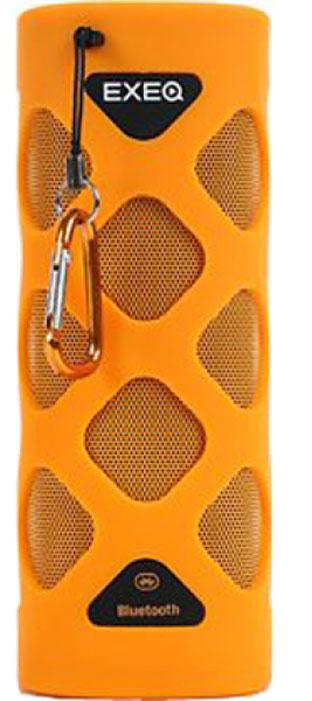 EXEQ SPK-1208, Orange акустическая системаSPK-1208 ORЭкстремальный стиль.Exeq SPK-1208 - это беспроводная колонка, выполненная в необычном «экстремальном стиле»: оригинальный дизайн, специальный прорезиненный и влагозащитный корпус, яркая цветовая гамма, карабин для крепления колонки в походных условиях. На выбор предлагается два варианта расцветки - практичный черный и жизнеутверждающий оранжевый. Exeq SPK-1208 - портативная акустическая колонка, которая сможет удачно вписаться как в домашний уютный интерьер, так и в любые походные условия.Технология NFC.Для беспроводного подключения к устройствам Exeq SPK-1208 оснащена модулем Bluetooth с радиусом действия 10 м. Также колонка оборудована технологией NFC (Near field communication или «коммуникацией ближнего поля») - подключение Exeq SPK-1208 к устройствам с поддержкой аналогичной технологии займет считанные секунды. Для тех, кто не знаком с технологией NFC стоит отметить, что подобный принцип сопряжения используется в общественном транспорте - при считывании турникетом поездок с проездного билета.Качественное звучание.Exeq SPK-1208 отличается воспроизведением глубокого и объемного звука, а также качественной передачей низких частот. За качество звука отвечают два динамика мощностью по 5 Вт каждый. Специальный дизайн Exeq SPK-1208 позволяет удачно передавать звук во всех направлениях от места нахождения колонки. А благодаря встроенному аккумулятору емкостью в 2000 мАч делиться любимой музыкой с друзьями и семьей можно где угодно до 10 часов подряд.Подключение устройств.Портативная колонка Exeq SPK-1208 может быть подключена к разнообразным устройствам при помощи модуля Bluetooth, а также устройствам, воспроизводящим аудиосигналы при помощи стандартного звукового выхода 3,5 мм. Колонка способна воспроизводить музыку с мобильного телефона, ноутбука, MP3/MP4 плеера, компьютера, планшета, портативной игровой консоли, а также мгновенно подключаться к устройствам с технологией NFC.Возможности использования и Hands-free.Ун