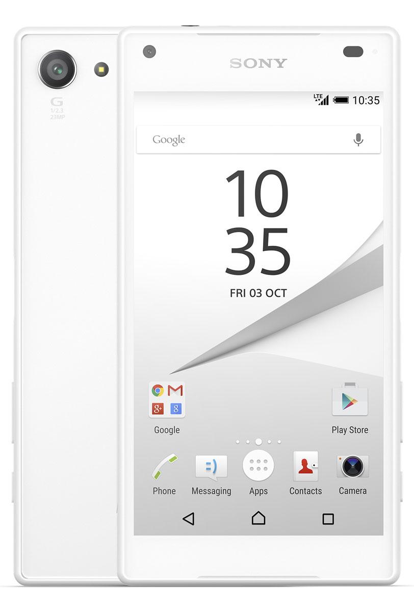 Sony Xperia Z5 Compact, WhiteE5823WhiteSony Xperia Z5 Compact - не просто функциональный смартфон. Это устройство, которое расширяет ваши возможности и горизонты. По своим функциям он не уступает смартфонам с большими дисплеями, а благодаря компактному размеру его удобнее использовать в повседневной жизни. В нем всё идеально сбалансировано: дизайн, доступный в разных расцветках, инновации, которые позволяют идти в ногу с прогрессом, и комфортный размер дисплея - 4,6 дюйма.Данная модель имеет комфортные для работы компактные размеры, яркий красочный экран и элементы дизайна, которые притягивают взгляды окружающих. Стильное тиснение на рамке и матированное стекло на задней панели никого не оставит равнодушным.С водостойким корпусом Sony вам больше не придется бояться воды Xperia Z5 Compact не боится воды: он имеет водостойкий корпус, способный выдержать погружение на глубину более метра. Поэтому вам нечего беспокоиться, если вы пролили на него жидкость или попали с ним под дождь.Смартфон, который знает своего хозяина В кнопку питания на Xperia Z5 Compact встроен считыватель отпечатков пальцев. Сама кнопка находится на боковой панели смартфона, чтобы вы могли быстро, одним движением разблокировать экран.Со сверхбыстрой автофокусировкой вы никогда не упустите нужного момента Если вы хотите снять друзей в прыжке или запечатлеть чудачества своего домашнего питомца, вам поможет Xperia Z5 Compact. С ним вы сумеете сделать снимок в нужный момент, а не секундой позже. Автофокусировка настолько быстра (0,03 сек.), что может тягаться с цифровыми зеркальными фотокамерами.Одного заряда Xperia Z5 Compact хватает до 2 дней работы. Если этого недостаточно, на помощь придет устройство для быстрой зарядки: уже через 10 минут аккумулятор получит энергию на многие часы работы.Всегда яркие цветаДисплей Xperia Z5 Compact выполнен по технологиям, используемым в телевизорах Sony BRAVIA: он настолько яркий, что даже под солнцем вы сможете всё рассмотреть на его экране.Телефон сертифицирован 