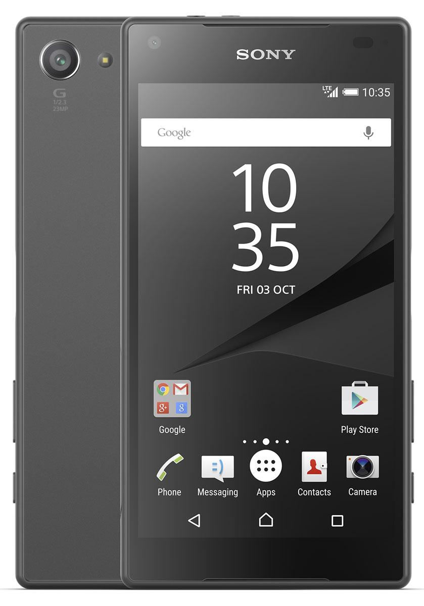 Sony Xperia Z5 Compact, Graphite BlackE5823BLKSony Xperia Z5 Compact - не просто функциональный смартфон. Это устройство, которое расширяет ваши возможности и горизонты. По своим функциям он не уступает смартфонам с большими дисплеями, а благодаря компактному размеру его удобнее использовать в повседневной жизни. В нем всё идеально сбалансировано: дизайн, доступный в разных расцветках, инновации, которые позволяют идти в ногу с прогрессом, и комфортный размер дисплея - 4,6 дюйма.Данная модель имеет комфортные для работы компактные размеры, яркий красочный экран и элементы дизайна, которые притягивают взгляды окружающих. Стильное тиснение на рамке и матированное стекло на задней панели никого не оставит равнодушным.С водостойким корпусом Sony вам больше не придется бояться воды Xperia Z5 Compact не боится воды: он имеет водостойкий корпус, способный выдержать погружение на глубину более метра. Поэтому вам нечего беспокоиться, если вы пролили на него жидкость или попали с ним под дождь.Смартфон, который знает своего хозяина В кнопку питания на Xperia Z5 Compact встроен считыватель отпечатков пальцев. Сама кнопка находится на боковой панели смартфона, чтобы вы могли быстро, одним движением разблокировать экран.Со сверхбыстрой автофокусировкой вы никогда не упустите нужного момента Если вы хотите снять друзей в прыжке или запечатлеть чудачества своего домашнего питомца, вам поможет Xperia Z5 Compact. С ним вы сумеете сделать снимок в нужный момент, а не секундой позже. Автофокусировка настолько быстра (0,03 сек.), что может тягаться с цифровыми зеркальными фотокамерами.Одного заряда Xperia Z5 Compact хватает до 2 дней работы. Если этого недостаточно, на помощь придет устройство для быстрой зарядки: уже через 10 минут аккумулятор получит энергию на многие часы работы.Всегда яркие цветаДисплей Xperia Z5 Compact выполнен по технологиям, используемым в телевизорах Sony BRAVIA: он настолько яркий, что даже под солнцем вы сможете всё рассмотреть на его экране.Телефон сертифиц