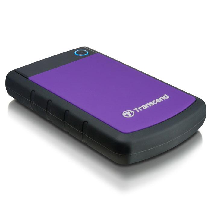 Transcend StoreJet 25H3 500GB, Purple внешний внешний диск (TS500GSJ25H3P)TS500GSJ25H3PПортативный жесткий диск StoreJet 25H3 - это надежное устройство с отличными рабочими характеристиками USB 3.0, емкостью для хранения до 2 ТБ, что позволит хранить около 200 DVD фильмов, и 3-ступенчатой антиударной системой защиты, отвечающей жестким требованиям испытаний U.S. на падение. Устройство StoreJet 25H3 обладает высокой скоростью передачи информации до 90MB/сек., что делает его идеальным выбором для любителей высокой скорости. Передача изображений DVD фильмов возможна за менее, чем 1 минуту!Устройство StoreJet 25H3 отличает прекрасный дизайн - антискользящий резиновый корпус фиолетового или синего цвета, а также высокая степень защиты благодаря укрепленному внешнему кейсу и внутренней системе подвески, что предохраняет устройство от ударов. Также, устройство снабжено кнопкой для удобного быстрого автоматического резервного копирования в одно нажатие, что сделает процесс синхронизации данных и резервного копирования максимально быстрым и удобным.Совместимость с суперскоростным USB 3.0, а также с USB 2.0 с обратной стороныИзносостойкий противоударный внешний силиконовый корпусУсовершенствованная система внутренней подвески доя защиты жесткого дискаБольшая емкость для хранения информацииПростой режим работы Easy Plug and Play - нет необходимости в драйверахЭнергосберегающий спящий режимКнопка автоматического резервного копирования в одно нажатиеКомплектуется ПО Transcend Elite для защитыLED индикатор статуса передачи данныхДополнительно:• Буфер: 8 МБ• Совместимость: Windows XP/Vista/Win 7, Mac OS 9.0 и более поздние версии, Linux Kernel 2.4 и более поздние версии• Ударостойкий корпус
