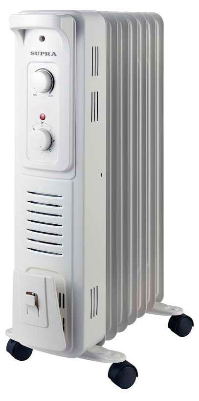 Supra ORS-07F-SN, White масляный радиаторORS-07F-SN whiteКлассический масляный обогреватель ORS-07F-SN напольного расположения с тремя режимами нагрева до 1500Вт, встроенным тепловентилятором и регулируемым термостатом. Имеет ручку и колесики для удобного перемещения. Белое цветовое исполнение.