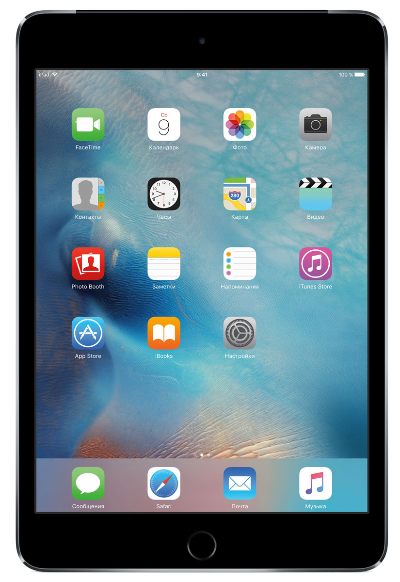 Apple iPad mini 4 Wi-Fi + Cellular 128GB, Space GrayMK762RU/AВ ещё более лёгком, тонком и элегантном корпусе iPad mini 4 помещается всё то, что вам так нравится в iPad. Игры, покупки, фильмы и даже работа - всё выглядит невероятно увлекательно на великолепном дисплее Retina. Теперь у вас ещё больше причин всегда брать iPad с собой.iPad mini 4 ещё никогда не был таким удобным. Его толщина всего 6,1 мм - и это никак не влияет на прочность. Надёжный и элегантный алюминиевый корпус unibody прослужит долгие годы и всегда будет радовать глаз.Дисплеи iPad mini предыдущих поколений производились из трёх отдельных компонентов. В iPad mini 4 их объединили в один. Исчезло расстояние между слоями, а вместе с ним и внутренние блики. Результат: на дисплее iPad mini 4 цвета стали ещё реалистичнее, а изображения выглядят контрастнее, ярче и резче.Процессор A8 второго поколения с 64-битной архитектурой - это сердце iPad mini 4. Благодаря невероятной производительности все приложения, от видеоредакторов до 3D-игр, работают легко и плавно. 64-битная архитектура гарантирует невероятную скорость работы и отклика, сравнимую с персональными компьютерами и игровыми консолями.Чтобы задействовать максимум графических возможностей процессора A8 и iOS 9, iPad mini 4 использует Metal - технологию Apple, которая позволяет разработчикам создавать невероятно реалистичные игры консольного уровня. Технология Metal оптимизирована таким образом, чтобы центральный и графический процессоры могли вместе работать над отображением детализированной графики и сложных визуальных эффектов.На iPad mini 4 установлена камера iSight с улучшенной 8-мегапиксельной матрицей, передовой оптикой и мощным процессором обработки сигналов изображения. Снимайте невероятно чёткие фотографии и впечатляющее HD-видео 1080p. HD-камера FaceTime также усовершенствована: новая матрица обеспечивает высокое качество видеозвонков даже при плохом освещении. А дисплей Retina высокого разрешения становится прекрасным видоискателем.Отпечат