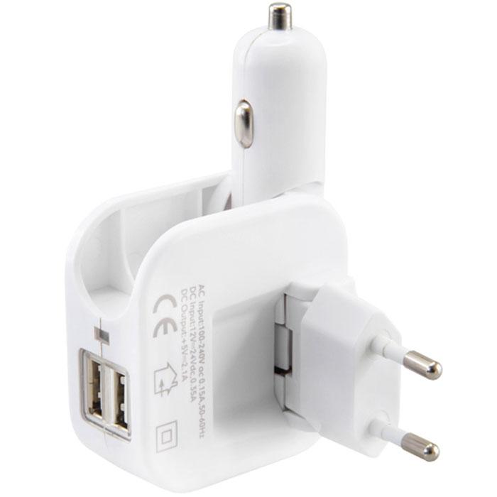 Neoline Volter K2, White автомобильное зарядное устройствоVolter K2Дорожный адаптер оснащенный двумя USB портами общей силой тока 2А Neoline Volter K2 оснащен подвижной вилкой для подключения в розетку переменного тока (220 В), а также складной вилкой для включения в прикуриватель (12-24 В). Имеет защиту от перегрузки и короткого замыкания. Идеален для путешествий благодаря своему эргономичному складному дизайну и функциональностью 2 в 1.Компактно складывается и не занимает место Входящее напряжение – 12/24В, 220/240В