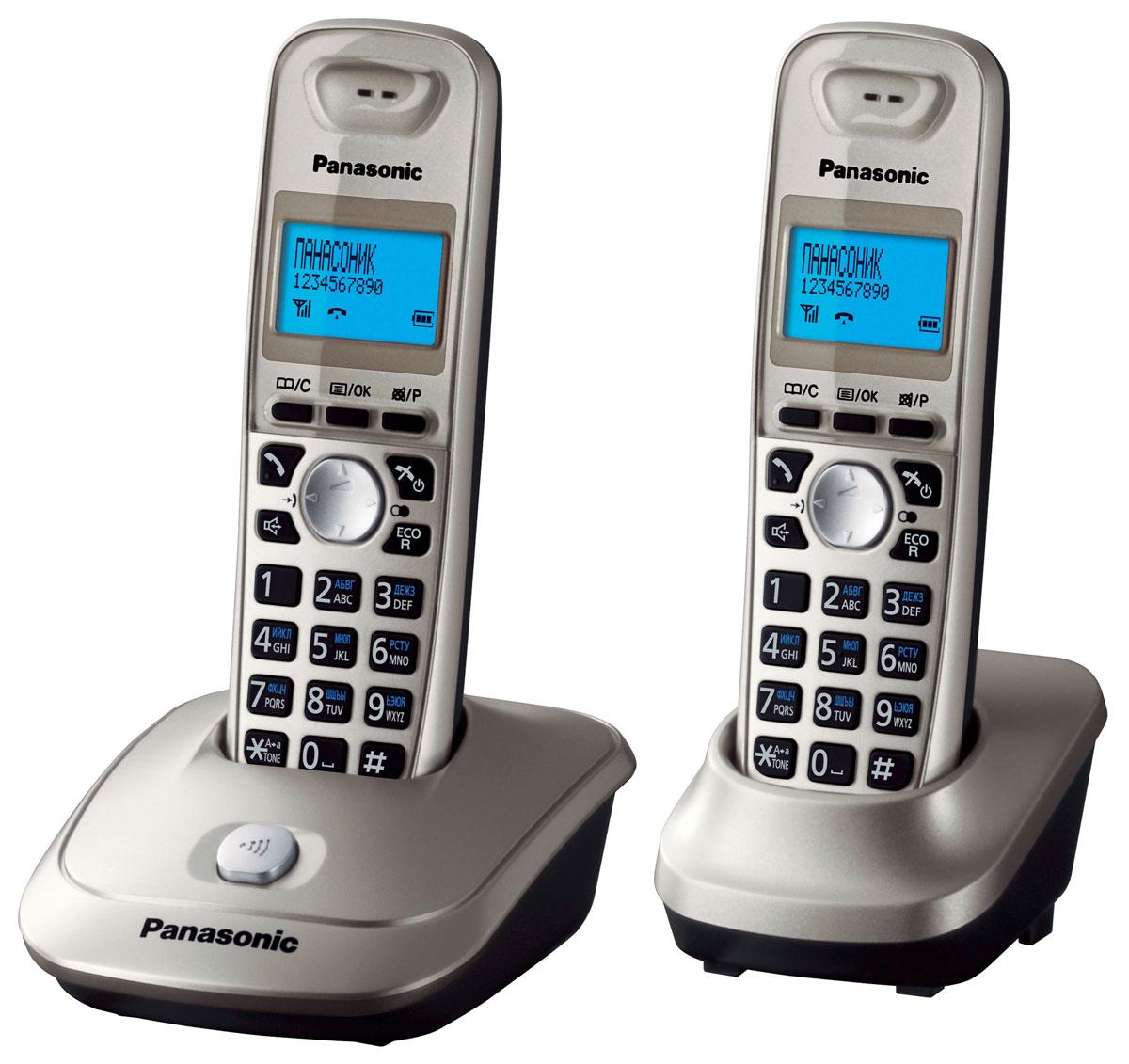 Panasonic KX-TG2512 RUN DECT телефонKX-TG2512RUNТелефонный аппарат – это уже привычная часть нашей жизни, без котороq не обходится ни один человек. Телефонный аппарат Panasonic KX-TG2512RUN - современная стильная модель, дизайн которой подчеркнет уютную обстановку вашего дома или дополнит имидж вашего офиса. Телефонный аппарат Panasonic KX-TG2512RUN обладает набором всех необходимых функций, поэтому пользование телефоном, несомненно, будет удобным и комфортным. При этом он очень прост в эксплуатации, в нем сможет разобраться даже ребенок. Телефонные аппараты Panasonic много лет пользуются огромной популярностью за счет своего проверенного временем качества и способностью всегда быть на шаг впереди конкурентов. Дополнительная трубка в комплектеАОН, Caller ID (журнал на 50 вызовов) Спикерфон на трубкеГолубая подсветка трубки Телефонный справочник (50 записей)Полифонические мелодии звонка Кириллица на дисплееВремя/дата на дисплее Повторный набор номера Переход в Эко режим одним нажатиемПитание трубки: NiMH аккумуляторДо 18 ч в режиме разговораДо 170 ч в режиме ожидания