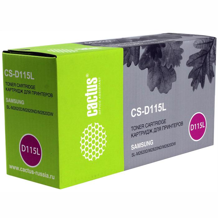Cactus CS-D115L, Black тонер-картридж для Samsung SL-M2620D/M2820ND/M2820DWCS-D115LКартридж Cactus CS-D115L для лазерных принтеров Samsung.Расходные материалы Cactus для лазерной печати максимизируют характеристики принтера. Обеспечивают повышенную чёткость чёрного текста и плавность переходов оттенков серого цвета и полутонов, позволяют отображать мельчайшие детали изображения. Обеспечивают надежное качество печати.