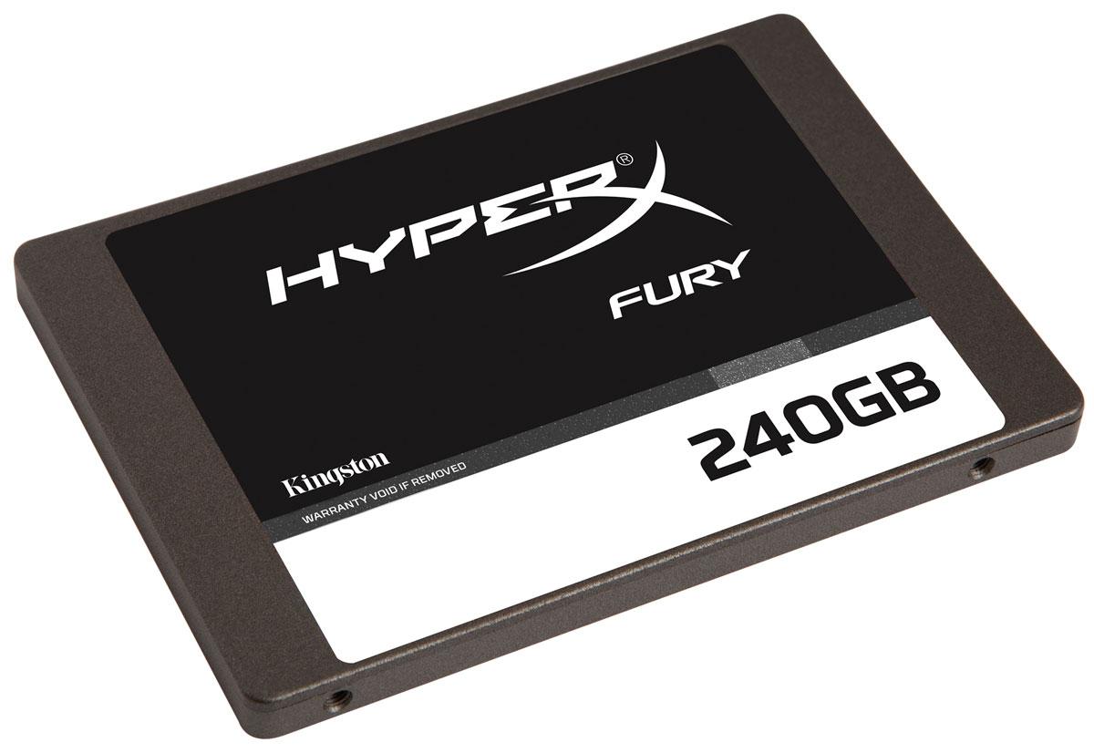 Kingston HyperX Fury 240 GB SSD-накопительSHFS37A/240GВы в игре? Твердотельный накопитель Kingston HyperX Fury обеспечивает впечатляющую производительность при доступной цене, что позволяет играть быстрее и улучшить ваши игровые результаты. Накопитель емкостью 120 ГБ и 240 ГБ имеет компактный форм-фактор 7 мм и контроллер SandForce SF-2281 со скоростным интерфейсом SATA 3.0 (6 Гбит/с). Благодаря накопителю ускоряется запуск системы, загрузка приложений и выполнение файлов, а также загрузка карт и уровней. Его синхронная память NAND обеспечивает стабильную и высокую производительность. Этот накопитель позволяет играть и выигрывать.Передача несжимаемых данных (AS-SSD и CrystalDiskMark): 470 МБ/с (чтение) и 220 МБ/с (запись)Рейтинг PCMark Vantage HDD Suite: 60000Скорость передачи данных накопителя по PCMark 8: 180 МБ/сСуммарное число записываемых байтов (TBW): 641ТБ 2.5 DWPD