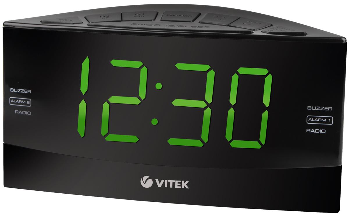 Vitek VT-6603(BK) радиочасыVT-6603(BK)Радиочасы Vitek VT-6603 - оптимальный вариант для тех, кто не любит обилие разной техники в доме. Ведь данные устройства являются не только часами, которые показывают время на электронном табло. Они совмещают в себе функцию будильника, радиоприемника и даже светильника-ночника для детских комнат! Часы с радио позволят вам просыпаться под звуки любимых радиостанций и точно знать текущее время.Не нужно больше вглядываться в стрелки обычных часов, не нужно постоянно заводить будильник, когда у вас под рукой есть радиочасы компании Vitek. Данная техника уникальная по своему оснащению. Устройства отличаются компактными размерами, но это не мешает наслаждаться их использованием. Ведь каждый прибор отличается наличием крупного электронного табло с подсветкой, на котором отображается текущее время. В некоторых моделях на табло дополнительно предоставляется информация о температуре воздуха в помещении, времени будильника и диапазоне настроенной радиочастоты.Пользоваться радиочасами Vitek VT-6603 настоящее удовольствие. Ведь процесс настройки не отнимает много времени, а минимальное потребление энергии позволяет им работать от обычных батареек на протяжении длительного времени.Радиочасы Vitek VT-6603 отличаются по дизайну. Стильные и надежные, качественные и многофункциональные – Vitek VT-6603 станут прекрасным дополнением любого помещения в вашем доме, будь это кухня или гостиная, спальня или детская комната.Диапазон частот: FM 87,5-108,0 МГц, AM 522-1620 KГцКнопка короткого снаРазмер дисплея: 1,8 дюймТаймер отключенияТип тюнера: цифровойЦвет символов дисплея: зеленый