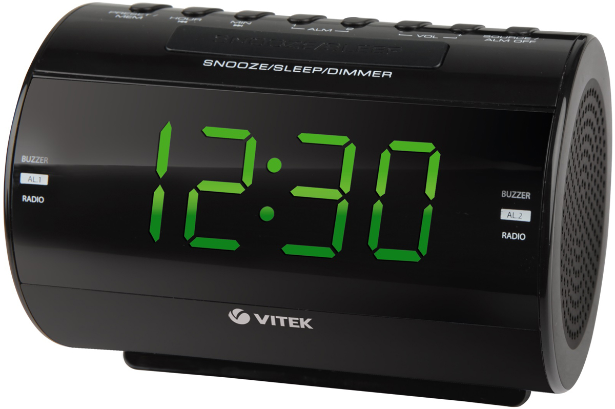 Vitek VT-6604(BK) радиочасыVT-6604(BK)Радиочасы Vitek VT-6604 - оптимальный вариант для тех, кто не любит обилие разной техники в доме. Ведь данные устройства являются не только часами, которые показывают время на электронном табло. Они совмещают в себе функцию будильника, радиоприемника и даже светильника-ночника для детских комнат! Часы с радио позволят вам просыпаться под звуки любимых радиостанций и точно знать текущее время.Не нужно больше вглядываться в стрелки обычных часов, не нужно постоянно заводить будильник, когда у вас под рукой есть радиочасы компании Vitek. Данная техника уникальная по своему оснащению. Устройства отличаются компактными размерами, но это не мешает наслаждаться их использованием. Ведь каждый прибор отличается наличием крупного электронного табло с подсветкой, на котором отображается текущее время. В некоторых моделях на табло дополнительно предоставляется информация о температуре воздуха в помещении, времени будильника и диапазоне настроенной радиочастоты.Пользоваться радиочасами Vitek VT-6604 настоящее удовольствие. Ведь процесс настройки не отнимает много времени, а минимальное потребление энергии позволяет им работать от обычных батареек на протяжении длительного времени.Стильные и надежные, качественные и многофункциональные – Vitek VT-6604 станут прекрасным дополнением любого помещения в вашем доме, будь это кухня или гостиная, спальня или детская комната.Диапазон частот: FM 87,5-108,0 МГц, AM 522-1620 KГцКнопка короткого сна: 9 минутРазмер дисплея: 1,2 дюйм LED с двумя уровнями подсветкиТаймер отключенияТип тюнера: цифровойЦвет символов дисплея: зеленый