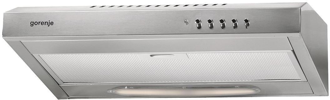 Gorenje DU6345E встраиваемая вытяжка180937Благодаря своему эффектному минималистичному дизайну с характерными прямоугольными формами этот вытяжной вентилятор придаст интерьеру вашей кухни неброскую элегантность и прекрасно впишется над любой варочной поверхностью. Лампа мощностью в 40 Вт и не только подсветит рабочее место, но и может использоваться как дополнительное освещение кухни.
