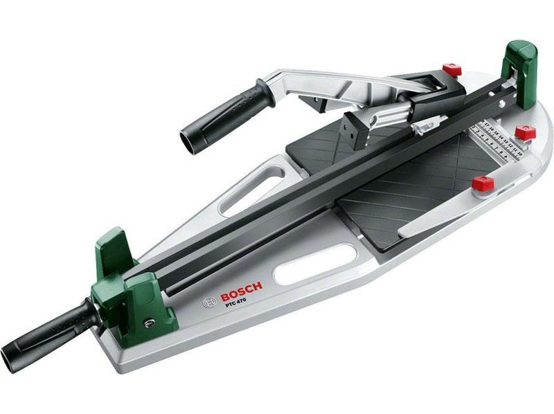 Плиткорез Bosch PTC 470 0603B043000603B04300Простая, быстрая и высокоточная резка керамической плитки размером до 470 ммСтабильный угловой упор 45°Удобные ручки для переноски