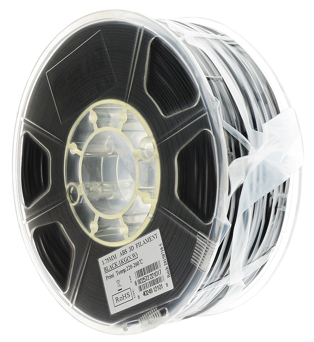 ESUN пластик ABS в катушке, Black, 1,75 ммABS175B1ESUN ABS175B1 - катушка ABS-пластика черного цвета для3D печати. Толщина пластика составляет 1,75 мм.