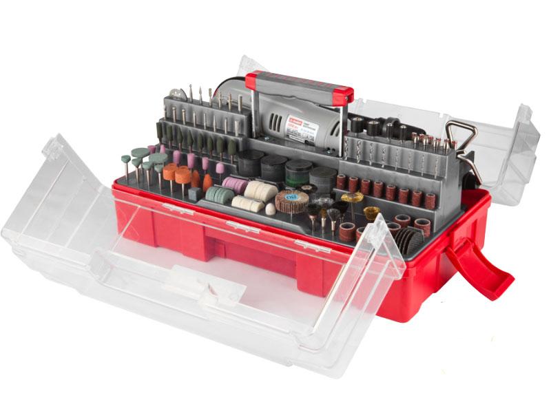 Гравер электрический ЗУБР. ЗГ-130ЭК H242ЗГ-130ЭК H242Гравер ЗУБР - это надежный инструмент с мощным двигателем, способный выполнить широкий круг задач (резка, полировка, гравирование, шлифование). Его неоспоримыми преимуществами являются высокая производительность, большой рабочий ресурс и универсальность применения при обработке различных материалов.Применяется при выполнении высокоточных чистовых работ по резке, шлифовке и полировке металла, древесины, пластика, керамики и других материалов.Особенности:Электронная регулировка оборотов позволяет подобрать оптимальный режим обработки для каждого вида работы Эргономичный дизайн, благодаря которому инструмент удобно лежит в руке Блокировка вала для быстрой замены инструмента Быстрая замена щеток коллектора ротора применяется при выполнении высокоточных чистовых работ по резке, шлифовке и полировке металла, древесины, пластика, керамики и других материаловУдобный мобильный чемодан для хранения и транспортировки Большой выбор рабочих форм и зернистостей насадок позволяет выполнять работы любой сложности даже в домашних условиях.В комплект входит:Щетки-крацовки: 9 шт.Круг отрезной алмазный: 1 шт.Отрезные супер тонкие абразивные круги: 40 шт.Отрезные абразивные круги: 40 шт.Отрезные армированные круги: 5 шт.Абразивные шлифовальные цилиндры: 14 шт.Шарошки металлические: 3 шт.Шарошки полимерные с хвостовиком: 8 шт.Шлифовальные круги по металлу с хвостовиком: 12 шт.Шлифовальные круги по металлу: 6 шт.Шлифовальные круги по камню с хвостовиком: 6 шт.Шлифовальные круги по камню: 6 шт.Круги шлифовальные: 41 шт.Круг лепестковый торцевой: 1 шт.Шарошки алмазные: 8 шт.Тканевый полировальный круг: 1 шт.Фетровые полировальные круги: 7 шт.Резиновый полировальный круг: 2 шт.Паста полировальная: 1 шт.Державка для фетрового круга: 2 шт.Сверла по металлу: 8 шт.Державки для шлифовальных цилиндров: 4 шт.Цанги хромированные: 4 шт.Оправки: 7 шт.Ключ комбинированный монтажный: 1 шт.Брусок абразивный правочный: 1 шт.