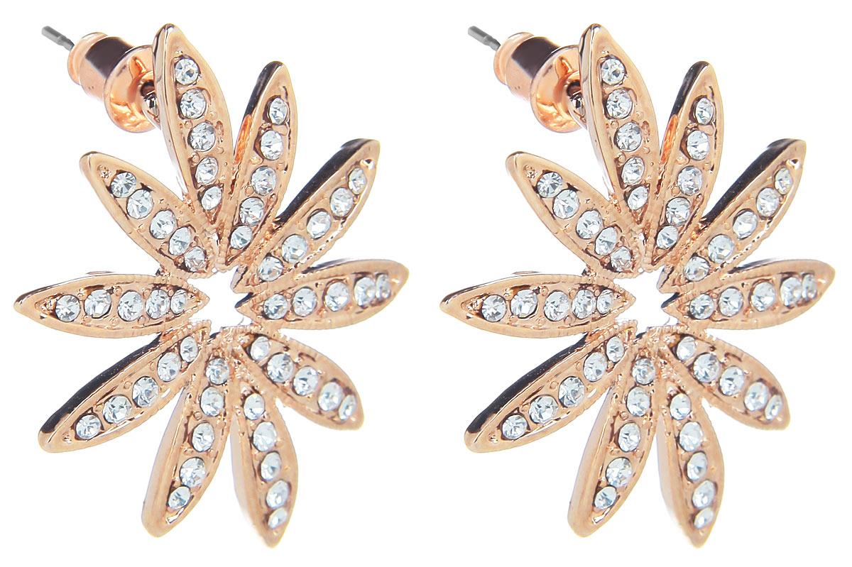 Серьги Fashion House, цвет: золотой. FH32074Пуссеты (гвоздики)Оригинальные серьги Fashion House, выполненные из металла с золотистым покрытием в виде цветка-звезды, оформлены стразами. Серьги застегиваются на стоплер. Изящные серьги придадут вашему образу изюминку, подчеркнут красоту и изящество вечернего платья или преобразят повседневный наряд. Такие серьги позволит вам с легкостью воплотить самую смелую фантазию и создать собственный, неповторимый образ.