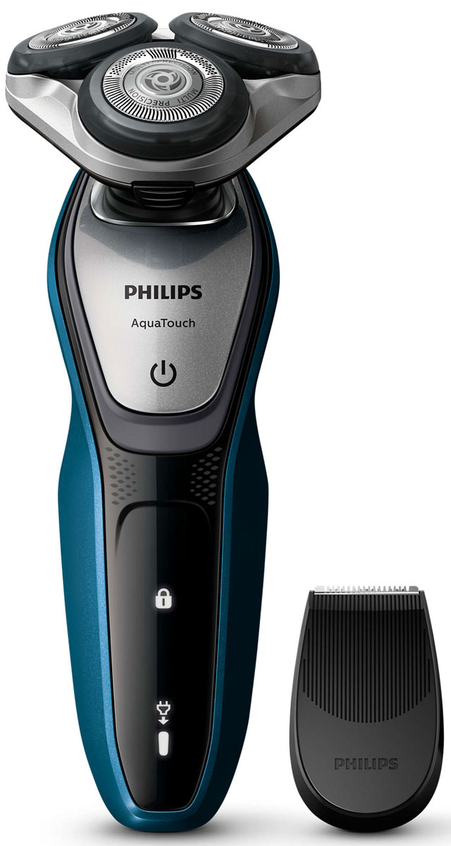 Philips S5420/06 электробритваS5420/06Бритва Philips S 5420/06 обеспечивает освежающее бритье и защищает кожу. Система лезвий MultiPrecision с закругленными краями бритвенных головок легко скользит по коже для бережного и безопасного бритья. Система лезвий MultiPrecision с закругленными краями бритвенных головок легко скользит по коже для бережного и безопасного бритья.Уплотнение Aquatec позволяет выбирать наиболее комфортный способ бритья: быстрое и комфортное сухое бритье или влажное бритье с использованием геля или пены. Вы можете использовать прибор даже в душе. Система лезвий MultiPrecision в несколько движений приподнимает и срезает волоски и щетину. Головки Flex двигаются независимо друг от друга в 5 направлениях. Это гарантирует оптимальный контакт с кожей для быстрого и гладкого бритья даже на шее и подбородке.Чтобы завершить образ, используйте безопасный для кожи съемный компактный триммер. Он идеально подходит для моделирования усов и подравнивания висков. Один цикл зарядки обеспечивает от 45 минут автономной работы или примерно 15 сеансов бритья. Бритва работает только в беспроводном режиме.Мощный энергоэффективный и долговечный литий-ионный аккумулятор обеспечивает долгое время работы бритвы после каждой зарядки. Быстрой зарядки в течение 5 минут хватает для проведения одного сеанса бритья. На интуитивно понятном дисплее отображается вся необходимая информация, что позволяет в полной мере использовать все возможности вашей бритвы: одноуровневый индикатор аккумулятора, индикатор очистки, индикатор низкого заряда аккумулятора, индикатор замены головки, индикатор дорожной блокировкиСистема двойных лезвий Super Lift & Cut обеспечивает идеально чистое и гладкое бритье. Первое лезвие приподнимает волоски, а второе — аккуратно срезает их у самого основания. На все бритвы Philips S 5420/06 распространяется 2-летняя гарантия. Приборы поддерживают напряжения разных стандартов. Долговечные лезвия необходимо менять лишь раз в 2 года. Philips заботится об окружающей