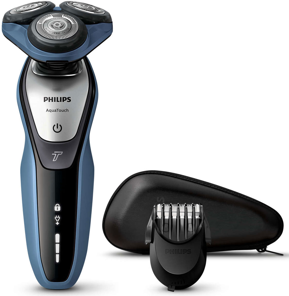 Philips S5620/41 электробритваS5620/41Бритва Philips S 5620/41 обеспечивает освежающее бритье и защищает кожу. Система лезвий MultiPrecision с закругленными краями бритвенных головок легко скользит по коже для бережного и безопасного бритья. Система лезвий MultiPrecision с закругленными краями бритвенных головок легко скользит по коже для бережного и безопасного бритья. Уплотнение Aquatec позволяет выбирать наиболее комфортный способ бритья: быстрое и комфортное сухое бритье или влажное бритье с использованием геля или пены. Вы можете использовать прибор даже в душе.Еще более быстрое бритье даже густой бороды благодаря режиму Turbo — мощность выше на 10 %. Система лезвий MultiPrecision в несколько движений приподнимает и срезает волоски и щетину. Головки Flex двигаются независимо друг от друга в 5 направлениях. Это гарантирует оптимальный контакт с кожей для быстрого и гладкого бритья даже на шее и подбородке.Измените свой образ с помощью насадки-стайлера SmartClick для бороды. 5 установок длины на выбор подходят для создания идеальной щетины или моделирования аккуратной короткой бороды. Закругленные кончики и гребни предотвращают появление раздражения. Один цикл зарядки обеспечивает от 50 минут автономной работы или примерно 17 сеансов бритья. Бритва Philips S 5620/41 работает только в беспроводном режиме.Мощный энергоэффективный и долговечный литий-ионный аккумулятор обеспечивает долгое время работы бритвы после каждой зарядки. Быстрой зарядки в течение 5 минут хватает для проведения одного сеанса бритья. Система двойных лезвий Super Lift & Cut обеспечивает идеально чистое и гладкое бритье. Первое лезвие приподнимает волоски, а второе — аккуратно срезает их у самого основания.На интуитивно понятном дисплее отображается вся необходимая информация, что позволяет в полной мере использовать все возможности вашей бритвы: трехуровневый индикатор аккумулятора, индикатор очистки, индикатор низкого заряда аккумулятора, индикатор сменной головки, индикатор дорожной блокиров