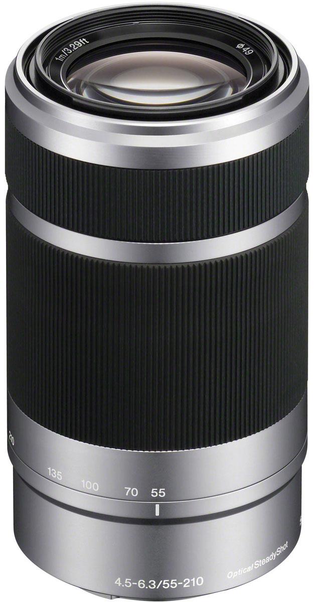 Sony 55-210 mm F/4.5-6.3, Silver объектив для NexSEL55210.AEМодель Sony 55-210 mm позволяет снимать на большом расстоянии такие объекты, как спортивные соревнования и природа. Встроенный стабилизатор изображения уменьшает размытие при съемки на большом расстоянии или при слабом освещении.Стабилизатор изображения Optical SteadyShot, встроенный в объектив, позволяет создавать плавные, несмазанные фотографии и видеозаписи при съемке с рук.Вместо стандартной диафрагмы объектива в форме многоугольника, этот объектив имеет 7-лепестковую круглую диафрагму для более естественной, скругленной дефокусировки или эффекта боке.Асферические элементы объектива сводят искажения к минимуму, а линзы из стекла со сверхнизкой дисперсией повышают контрастность, разрешение и четкость цветов.Благодаря механизму внутренней фокусировки корпус объектива не движется, что делает конструкцию более компактной, отклик автофокуса - более быстрым, а также сокращает минимальную дистанцию фокусировки.