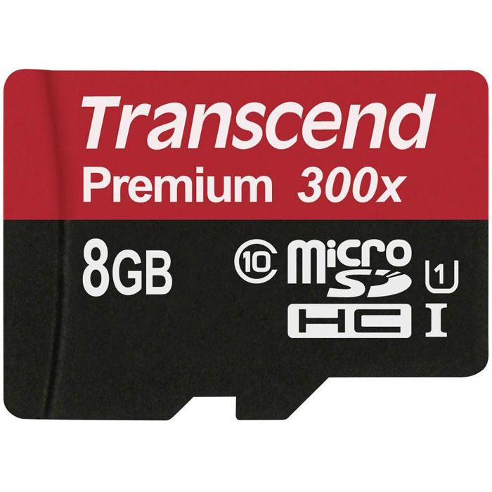 Transcend Premium microSDHC Class 10 UHS-I 300x 8GB карта памяти (без адаптера)TS8GUSDCU1Карты памяти Transcend microSDHC UHS-I были созданы для того, чтобы повысить эффективность работы с вашим смартфоном или планшетом, и соответствуют всем требованиям стандарта Ultra High Speed Class 1. Построенные на основе самых современных технологий, эти карты обеспечивают максимальный уровень производительности в требовательных к работе подсистемы памяти играх и приложениях, а также позволяют без задержек воспроизводить Full HD-видео с полной кадровой частотой.