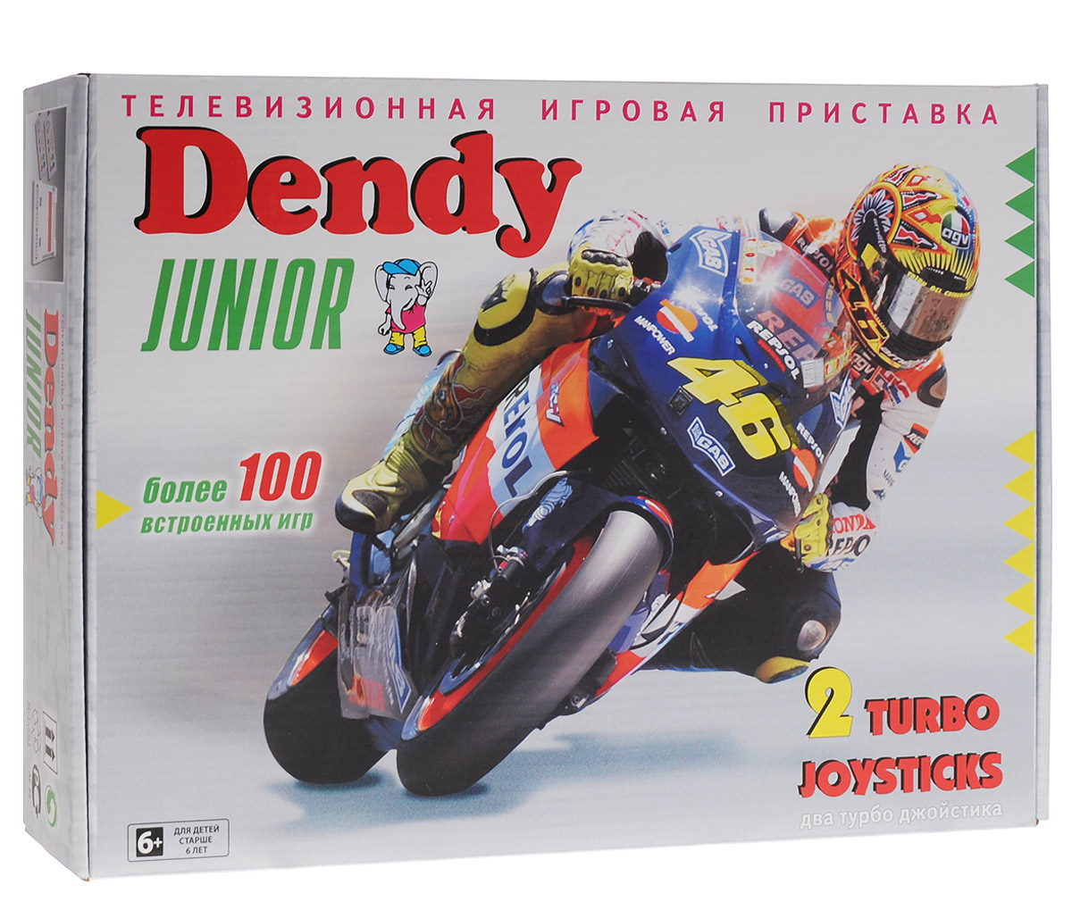 Игровая приставка Dendy Junior (8 bit)5C6-00110Самая популярная 8-битная приставка последнего времени в России. Отличается простотой, неприхотливостью и надежностью в работе.