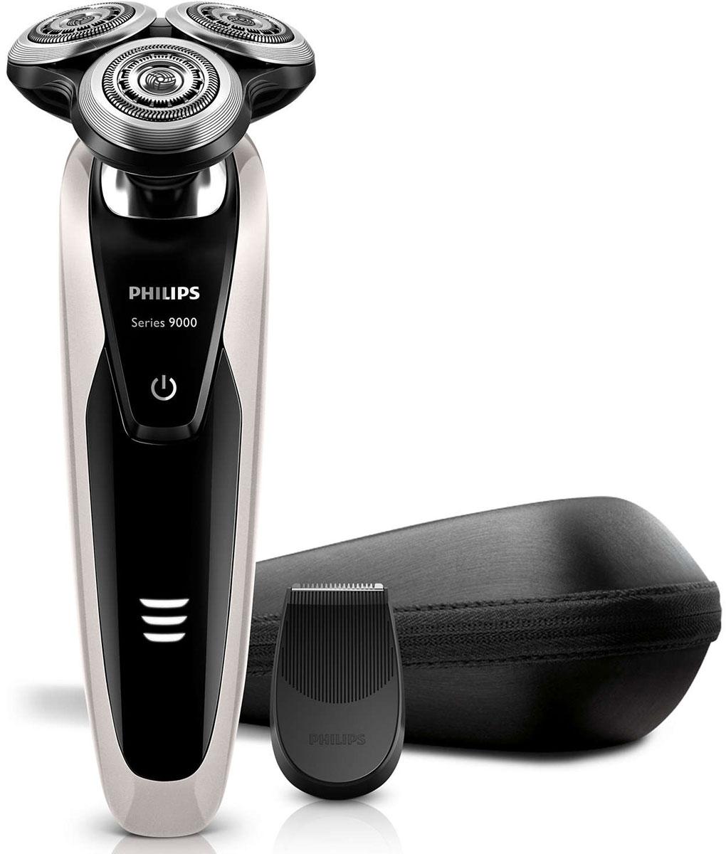 Philips S9041/12 электробритваS9041/12Philips S 9041/12 — наиболее совершенная бритва Philips на сегодняшний день. Уникальная технология повторения контуров гарантирует идеальное скольжение, а система лезвий V-Track обеспечивает более удобный захват волосков и максимально чистое бритье. Запатентованные лезвия V-Track Precision аккуратно захватывают и направляют волоски любой длины, а также волоски, прилегающие к коже. Обеспечивает на 30 % более гладкое и быстрое бритье, чтобы ваша кожа всегда выглядела безупречно.Новые гибкие головки вращаются в 8 направлениях, максимально точно повторяя контуры лица и требуя меньше усилий при каждом движении. Головки, двигающиеся независимо от бритвенного элемента, захватывают на 20 % больше волосков и обеспечивают более чистое бритье при меньшем количестве движений.Встроенная система двойных лезвий электрической бритвы Philips S 9041/12 приподнимает волоски, сбривая их максимально близко к поверхности кожи, что обеспечивает более чистое бритье. Уплотнение AquaTec электробритвы позволяет выбирать наиболее комфортный способ бритья: сухое бритье или освежающее влажное бритье с использованием геля или пены для бритья. Высокоточный триммер служит для подравнивания усов и бакенбард.На интуитивно понятном дисплее Philips S 9041/12 отображается вся необходимая информация, что позволяет в полной мере использовать все возможности вашей бритвы: трехуровневый индикатор аккумулятора, индикатор очистки, индикатор низкого заряда аккумулятора, индикатор сменной головки, индикатор дорожной блокировки.Передовая технология зарядки обеспечивает два удобных режима: 50 минут работы после зарядки в течение 1 часа или быстрая зарядка для одного сеанса бритья. Все Philips S 9041/12 предназначена только для беспроводной работы, что обеспечивает безопасность при влажном бритье.Экологичная продукция Philips поможет снизить расходы, потребление энергии и выбросы CO2. Каким образом? Она имеет отличные характеристики по ключевым параметрам экологической безопас