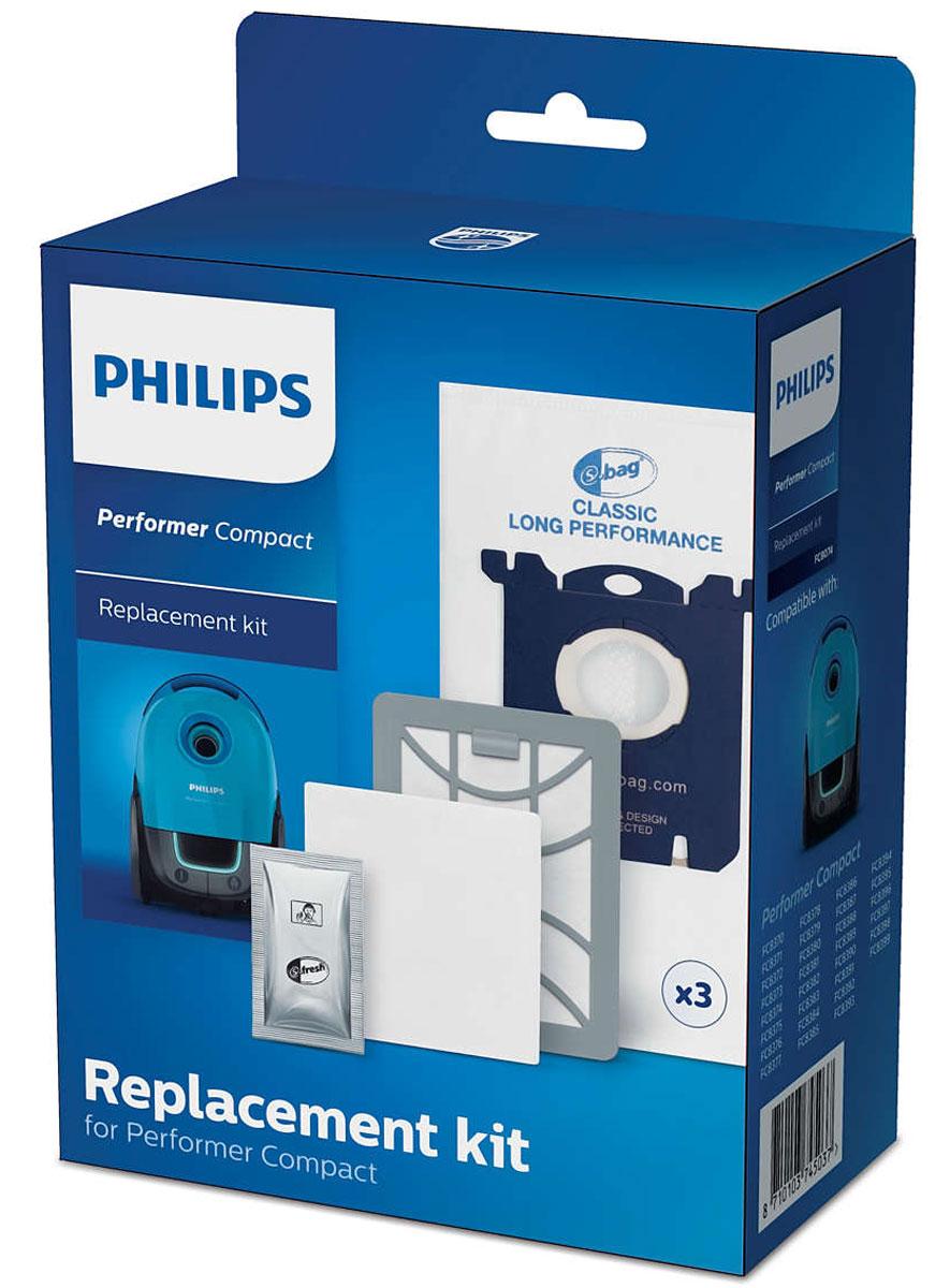 Philips FC8074/01 комплект аксессуаров для FC8370/FC8399FC8074/01Оригинальный комплект фильтров для замены Philips FC 8074/01 состоит из 3 мешков для сбор пыли (s-bag), 1 ароматизатора (s-fresh), 1 фильтра для мотора и 1 выходного фильтра Super Clean Air.Оригинальные мешки S-bag для сбора пыли были разработаны специально для долгосрочного эффективного использования пылесоса, высокой производительности и эффективной фильтрации воздуха до максимального наполнения пылесборника.Воздушный фильтр высокой очистки захватывает мелкие частицы домашней пыли, обеспечивая чистоту окружающего воздуха. В комплект входит 1 впускной фильтр для мотора, который предотвращает его повреждение и 1 выходной фильтр, обеспечивающий чистоту выходящего из пылесоса воздуха. Фильтры рекомендуется менять один раз в год. Освежитель воздуха s-fresh с запахом лимона может быть добавлен в пылесборник.