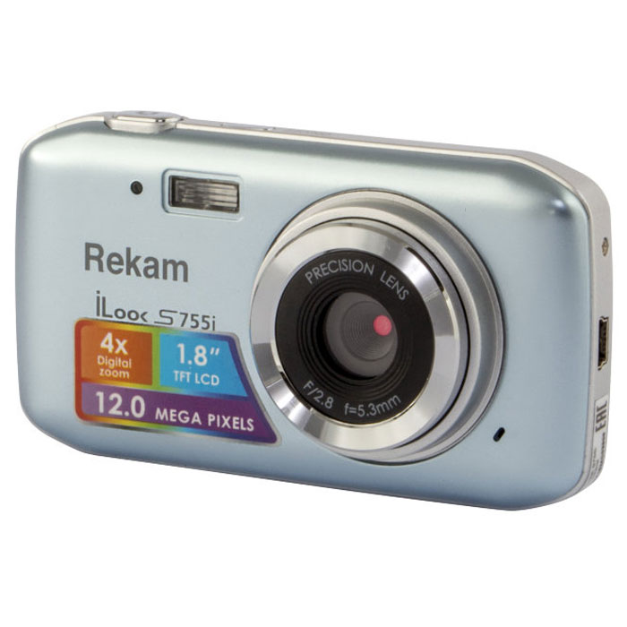 Rekam iLook S755i, Grey Silver цифровая фотокамера rekam ilook s950i black цифровая фотокамера