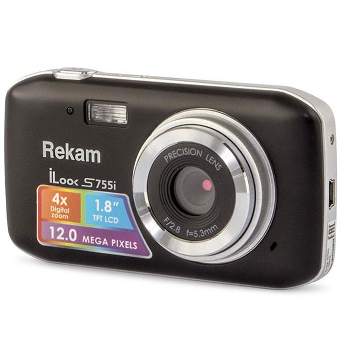 Rekam iLook S755i, Black цифровая фотокамера1108005121Rekam iLook S755i - это компактный цифровой фотоаппарат, созданный для сохранения памяти о самых ярких моментах жизни. Матрица CMOS обладает максимальным разрешением в 12 мегапикселей. Снимки, сделанные при помощи этой фотокамеры, идеальны для печати и редактирования. Rekam iLook S755i позволяет снимать видео в высоком разрешении и обладает всем необходимым для съемки в нормальных условиях. Фото сохраняются на карте памяти SD или MMC объемом до 32 Гб. Камера оборудована несколькими режимами настройки баланса белого, в том числе и автоматический. Цветной дисплей 1.8 позволит вам детально увидеть объект фото- или видеосъемки.Баланс белого: авто / солнечно / пасмурно / флуоресцент / вольфрамАпертура/фокус: F2.8, f=5.3mm; 1.5 - бесконечностьКомпенсация экспозиции: ±2.0EVISO: автоАвтоспуск: 2 с,10 сВспышка: авто/принудительно/выкл.Зум: цифровой 4.0х