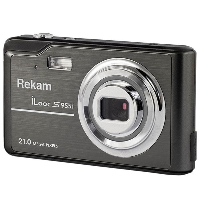 Rekam iLook S955i, Black цифровая фотокамера1108005130Rekam iLook S955i - это компактный цифровой фотоаппарат, созданный для сохранения памяти о самых ярких моментах жизни. Матрица CMOS обладает максимальным разрешением в 21 мегапиксель. Снимки, сделанные при помощи этой фотокамеры, идеальны для печати и редактирования. Rekam iLook S955i позволяет снимать видео в высоком разрешении и обладает всем необходимым для съемки в нормальных условиях. Фото сохраняются на карте памяти SD/MMC или SDHC объемом до 32 Гб. Камера оборудована несколькими режимами настройки баланса белого, в том числе и автоматический. Цветной дисплей 2,7 позволит вам детально увидеть объект фото- или видеосъемки.Баланс белого: авто / солнечно / пасмурно / флюоресцент / вольфрамСценарии: авто / спорт / ночная съёмка / портрет / пейзаж / яркая сцена / пляж / вечеринка / высокая чувствительностьISO: авто / 100 / 200 / 400 / 800Автоспуск: 2 с / 5 с / 10 сВспышка: авто / принудительно / выкл.Функция Определение улыбкиСъемка панорамыЗум: цифровой 4.0XКомпенсация экспозиции: ±3.0EV (0.1EV/шаг)Апертура/фокус: F2.8, f=5.3mm; 1.5 - бесконечность