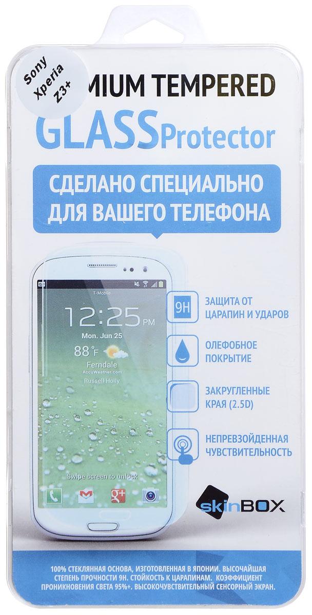 Skinbox защитное стекло для Sony Xperia Z3+, глянцевоеSP-121Защитное стекло Skinbox для Sony Xperia Z3+ предназначено для защиты поверхности экрана от царапин, потертостей, отпечатков пальцев и прочих следов механического воздействия. Оно имеет окаймляющую загнутую мембрану последнего поколения, а также олеофобное покрытие. Изделие изготовлено из закаленного стекла высшей категории, с высокой чувствительностью и сцеплением с экраном.