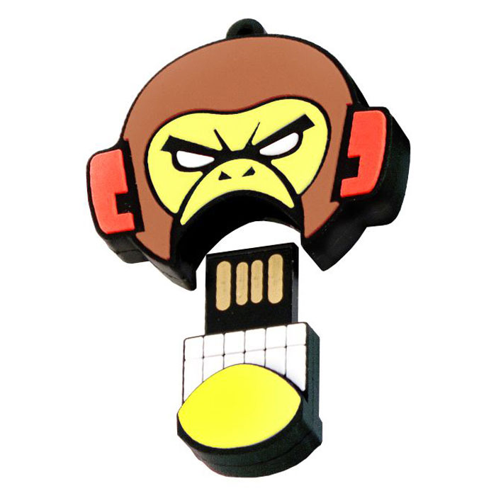 USBSOUVENIR Evil Monkey 32GB, Yellow Brown USB-накопительAP-EVILMONKEY-32GB-YBФлеш-накопитель USBSOUVENIR Evil Monkey имеет весьма нестандартный дизайн. Накопитель ударопрочный и защищен резиновым корпусом, а высокая пропускная способность и поддержка различных операционных систем делают его незаменимым. USBSOUVENIR Evil Monkey - отличный выбор современного творческого человека, который любит яркие и нестандартные вещи.