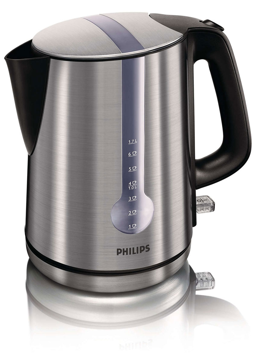 Philips HD 4670/20 электрочайникHD 4670 20Электрический чайник Philips HD4670 с корпусом из нержавеющей стали.Стильный чайник с уникальной функцией: индикатор количества воды на 1 чашку. Этот чайник позволяет избежать кипячения излишнего количества воды и сохраняет до 66% электроэнергии, уменьшая таким образом негативное воздействие на окружающую среду.Хранение шнура в подставке для чайникаБеспроводная подставка для чайника, поворачиваемая на 360°, для простой установки и снятияИндикатор для точного определения необходимого количества водыЧистая вода и чистый чайник благодаря фильтру двойного действияФиксируемая крышка на шарнире — максимум простоты и безопасностиКрышка не нагревается и безопасна при прикосновенииШироко открывающаяся крышка на пружине для удобного наполнения и очисткиПлоский нагревательный элемент для быстрого нагревания и легкой очистки
