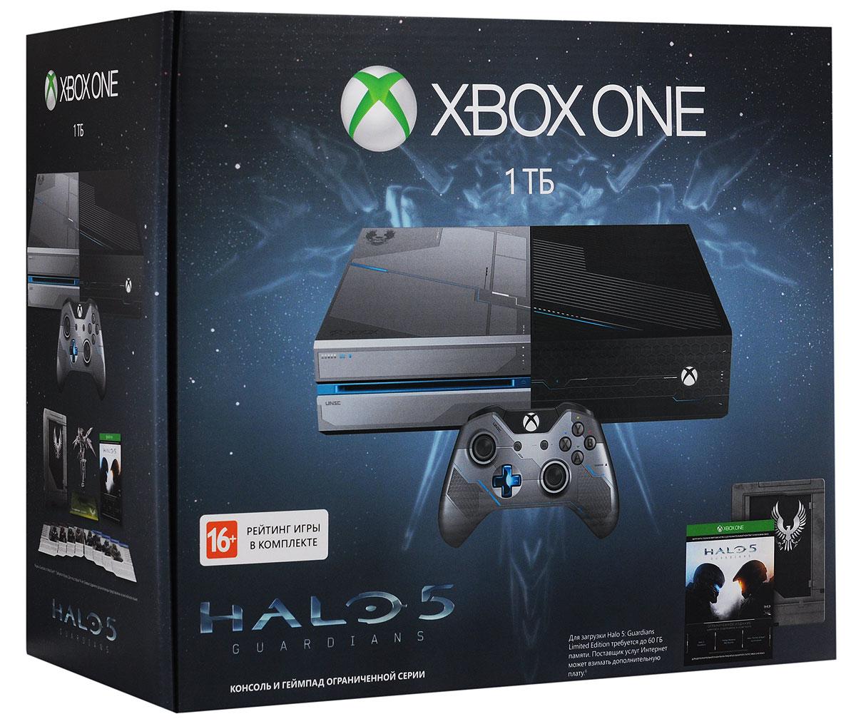 Игровая приставка Xbox One 1 ТБ + Halo 5: GuardiansKF6-00012Купите комплект Xbox One из ограниченной серии Halo 5 и получите консоль в уникальной раскраске с 1 ТБ жестким диском и геймпад в стиле Спартанца Локка, код на загрузку полной версии игры Halo 5 и набор Warzone REQPack.В наборе вы найдете 14 премиальных пакетов с дополнительными предметами для игры, броню класса FOTUS и эмблему для сетевой игры. Также в комплекте идет сборная модель Хранителя от компании Metal Earth, анимационный фильм Halo: The Fall of Reach, досье на Синюю команду и Отряд Осирис и секретные приказы Спартанца Локка. Консоль, оформленная в стиле Спартанца Локка и техники UNSC, позволит вам погрузиться глубже во вселенную Halo. Начиная с металлических вставок и боевых эмблем и заканчивая оригинальными звуковыми эффектами из игры, эта консоль создана для фанатов Halo. Купив консоль вы сможете загрузить игру за неделю до официального старта продаж и начать играть прямо в момент ее выхода.Особенности комплекта:Единственная консоль, на которой в этом году можно сыграть в Halo 5: Guardians, Rise of the Tomb Raider и Forza Motorsport 6.Самый продвинутый мультиплеер в службе Xbox Live.Быстрое переключение между играми, телевизором и приложениями.Встроенный жесткий диск объемом 1 ТБ для хранения игр и файлов.В комплект входит геймпад с 3,5-мм гнездом, к которому можно подключить любую совместимую гарнитуру.Полная загружаемая версия игры Halo 5 + DLC.Halo 5: Guardians - новая глава легендарной саги о великом воине.Мастер Чиф пропал без вести. Инопланетная угроза в любой момент может истребить человеческие цивилизации. ККОН посылает спартанца Локка на поиски Мастера Чифа, которые оборачиваются охотой галактического масштаба.Особенности игры:Твоя команда - твое оружие: режим совместного прохождения на четырех игроков (также есть режим разделения экрана на двух игроков).Расширенный многопользовательский режим: PvP и более 20 различных соревновательных режимов.Включает новую систему развития персонажа, в