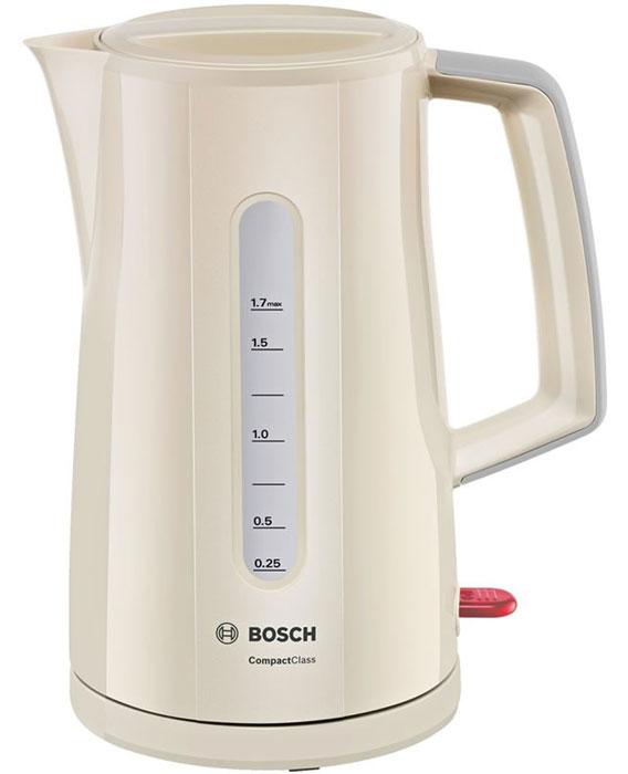 Bosch TWK3A017 электрочайникTWK3A017Электрочайник Bosch TWK3A014 - это надежный и элегантный прибор, который в кратчайшие сроки обеспечит вас кипятком. При повторном кипячении вода теряет свои природные свойства, но вам этого делать не придется. Данная модель отличается способностью вскипятить воду строго на одну чашку - 0.25 мл. Максимально допустимый объем - 1.7 л, так что за раз можно обеспечить горячими напитками большую компанию. Корпус выполнен из качественного термостойкого пластика - ни малейшего запаха при нагреве. О качестве кипяченой воды позаботится встроенный фильтр, надежно удерживающий частички накипи внутри. Нагревательный элемент чайника Bosch TWK3A014 расположен под плоским диском из нержавеющей стали, что значительно облегчает уход за моделью. Автоматическое отключение делает использование прибора абсолютно безопасным. Яркий глянцевый корпус сделает прибор настоящим украшением кухни. Возможность вращения на подставке и двусторонний индикатор уровня придают дополнительный комфорт при использовании чайника.