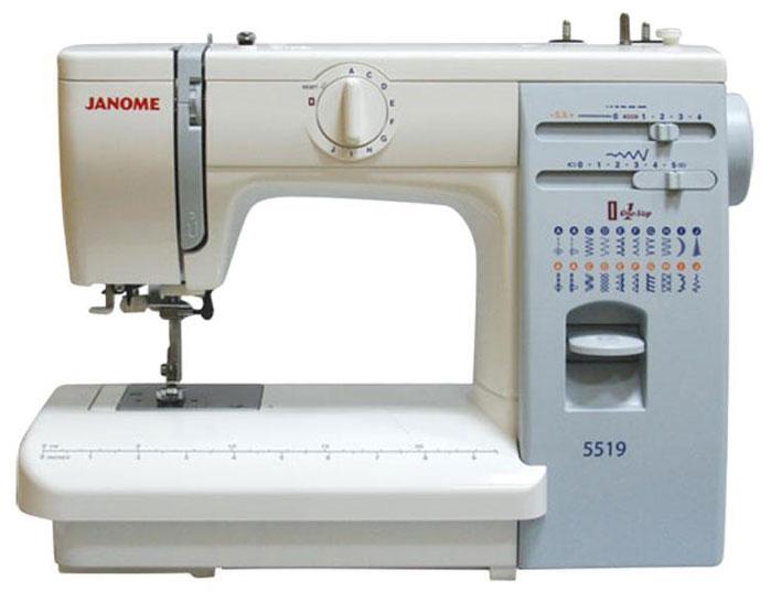 Janome 5519 швейная машина5519Бытовая настольная электромеханическая швейная машина Janome 5519 с вертикальным расположением челнока качающегося типа - это мощный, несмотря на свои относительно небольшие размеры, швейный агрегат, способный справиться с тяжелыми и сверхтяжелыми тканями ничуть не хуже промышленной машины. Данная модель имеет металлическую станину, что значительно увеличивает вес машины, а также несколько большие размеры рабочего стола, оснащенного встроенной в корпус мерной линейкой. Принято считать, что швейные машины, заточенные под работу с тяжелыми и сверхтяжелыми тканями, не способны так же хорошо шить тонкие ткани, но это не так. Если установить на машину Janome 5519 специальную трикотажную лапку и верхний подающий транспортер, грамотно подобрать иглы и точно выставить натяжение нити, тщательно отрегулировав плотность стежка, то у вас не возникнет никаких затруднением с шитьем крепдешины и шелка, трикотажа и ткани типа стрейч. А с роликовой лапкой вы сможете сшить себе не только кожаную куртку, но и дублёнку из мутона. Швейная машина Janome 5519 зарекомендовала себя как надежный рабочий швейный агрегат, с которым практически не бывает проблем. Трудно найти более простую и понятную в работе швейную машину, работать на которой так легко, приятно и комфортно.