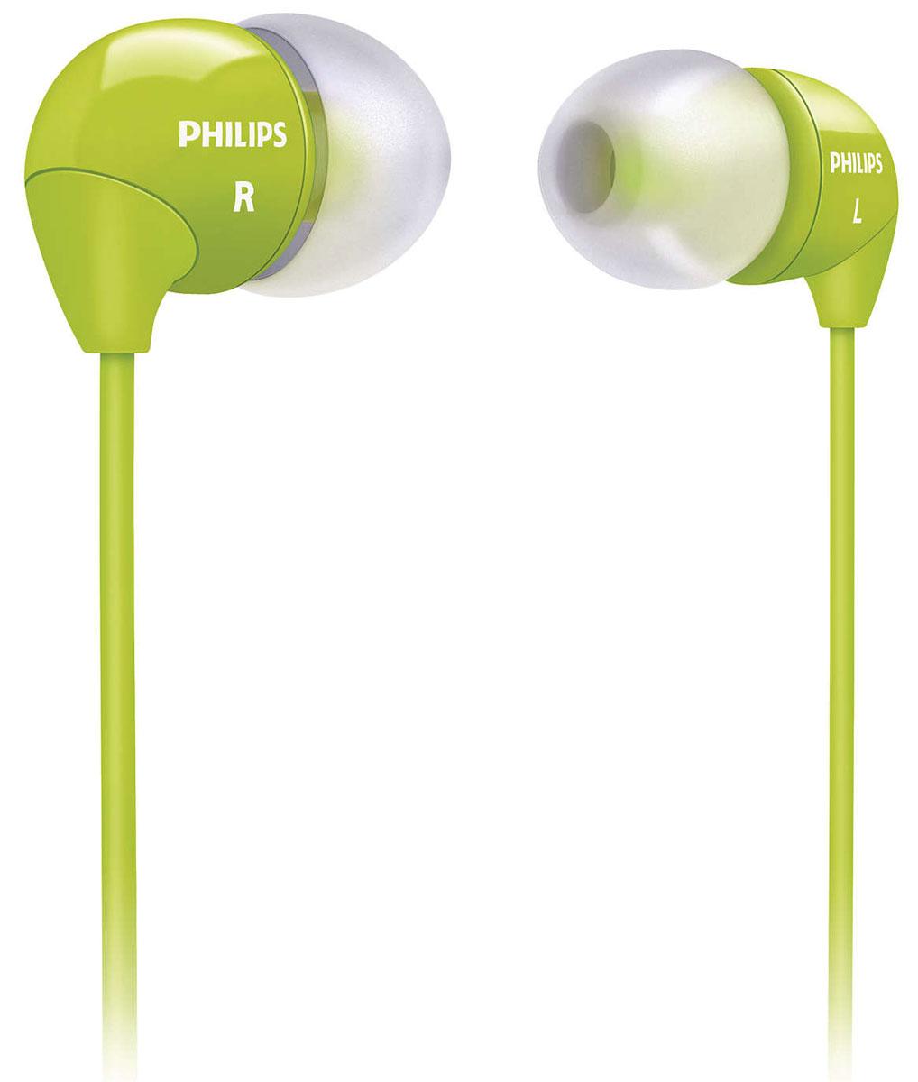 Philips SHE3590GN/10SHE3590GN/10Маленькие громкие динамики наушников-вкладышей Philips SHE3590 обеспечивают плотное прилегание и чистый звук с мощными басами. Идеальны для наслаждения любимой музыкой.В комплект входит 3 резиновых накладки разного размера, и вы гарантированно подберете пару, которая идеально подходит к вашим ушам. Крохотные излучатели обеспечивают плотность прилегания и полностью заполняют ушную раковину, что заглушает внешние источники звука и увеличивает впечатления от прослушивания. Мягкий резиновый сгиб между наушником и кабелем защищает соединение от разрыва при постоянном сгибании и продлевает срок службы.