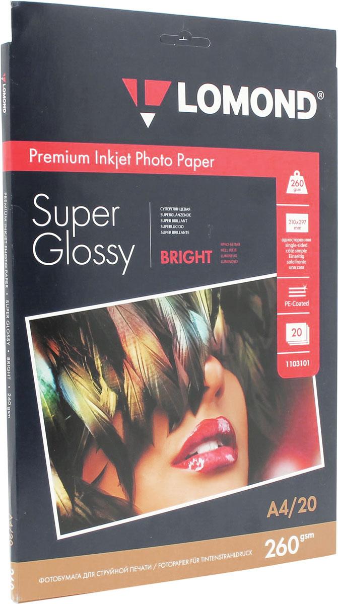Lomond Super Glossy Bright 260/A4/20л суперглянцевая ярко-белая1103101Суперглянцевая (Super Glossy) микропористая фотобумага Lomond для струйной печати.Микропористое покрытие обеспечивает столь же высокое качество печати, как и традиционная фотография. Себестоимость отпечатков на бумаге Lomond Premium Photo c использованием картриджей Lomond - ниже, чем стоимость отпечатков, получаемых по традиционной технологии с использованием химических реактивов. Благодаря полиэстеровому покрытию бумажной основы бумага Lomond Premium Photo совершенно не подвержена короблению после прохода через принтер даже при самой интенсивной заливке чернилами.Модификация Super Glossy по фактуре поверхности наиболее близка к традиционной химической фотобумаге. Отпечатки отличаются высоким глянцем.Основа: RC (Resin Coated) Тип покрытия: Микропористое