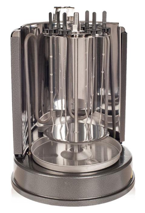 Kitfort KT-1404 электрошашлычницаKT-1404Шашлычница Kitfort КТ-1404 проста и удобна в использовании. Она работает от обычной розетки, не нужно ставить мангал и разжигать угли, никакой сажи, дыма и копоти! Всё что требуется, это замариновать мясо, нанизать его на шампуры и установить их вокруг нагревательного элемента. Благодаря вращению шампуров и тому, что нагревательный элемент расположен асимметрично, достигается определенный режим приготовления, когда продукт периодически нагревается и охлаждается. В результате в нем создается постоянный поток тепла и внутренних соков, пища получается здоровой, экологически чистой и готовится быстро. Такой режим приготовления позволяет приготовить мясо или шашлык точно так же, как и на обычном вертеле или мангале. Благодаря вертикальной конструкции электрошашлычница очень компактна и не занимает много места. Под шампурами расположена специальная тарелочка, куда стекает жир. После приготовления эту тарелочку можно снять и легко вымыть, слив жир. Шампуры оснащены ручками из ненагревающегося материала, поэтому их можно брать руками, не обжигаясь.