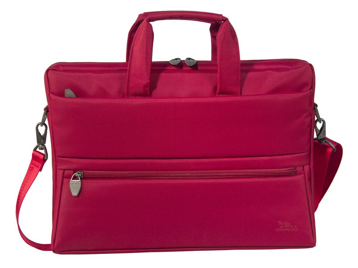 Riva 8630 сумка для ноутбука 15,6, RedRivaCase 8630 redСумка Riva 8630 для ноутбука до 15.6 выполнена из плотного синтетического материала и имеет утолщенные стенки для лучшей защиты ноутбука от случайных ударов и царапин, а также от пыли и влаги. Внутренняя контрастная подкладка серебристого цвета. Два дополнительных внутренних отделения помогут удобно разместить все необходимые документы и планшет до 10.1.Два внешних передних кармана на молнии служат для хранения аксессуаров, флэш-накопителей, визитных карт, смартфона. Дополнительное отделение на задней панели предназначено для хранения аксессуаров, документов. Двойная застежка молния предоставляет удобный доступ к устройству. Удобные ручки для транспортировки и регулируемый, съемный плечевой ремень с мягкой накладкой обеспечат удобство переноски.