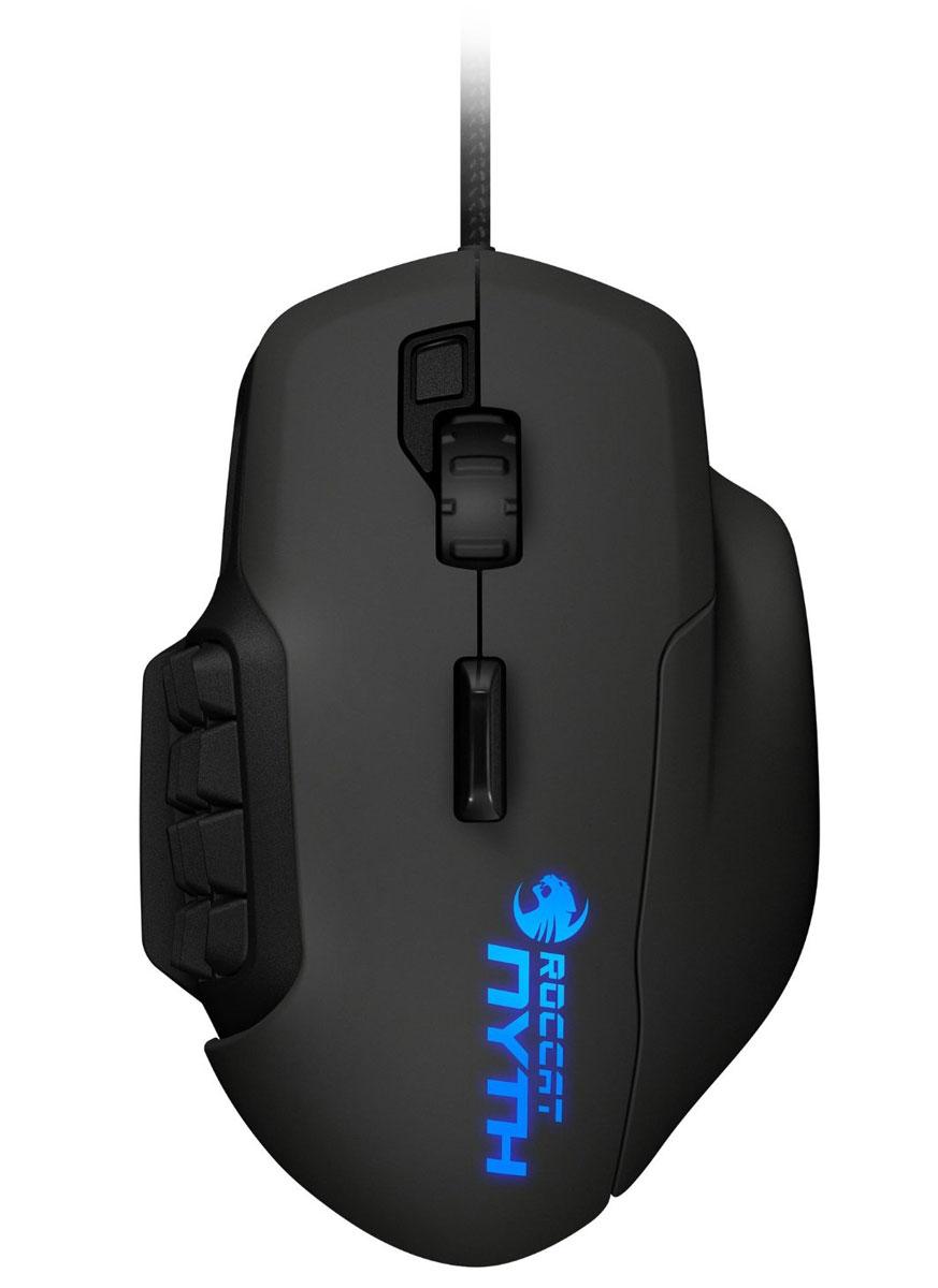 """ROCCAT Nyth Modular Gaming Mouse игровая мышьROC-11-900Игровая мышь Roccat Nyth Modular Gaming Mouse сконструирована специально для MMO-игроков, так как имеет целый ряд полностью настраиваемых кнопок. Кроме того, эти клавиши имеют одно уникальное свойство - они легко крепятся и вынимаются из боковой панели мыши. В комплекте с Nyth содержится достаточное количество частей для создания множества различных комбинаций.При разработке данного устройства компания Roccat применила технологию сдвоенных боковых кнопок, что стало определяющим фактором для оптимизации контроля и увеличения уровня комфорта в игре. Клавиши сконструированы с использованием специальной технологии и именно поэтому они отлично нажимаются и чувствуются пальцами.Конструкция и расположение сдвоенных кнопок мыши как в верхней ее части, так и сбоку, отлично проработаны и можно с уверенностью сказать, что удобство пользования этими клавишами будет по достоинству оценено всеми любителями игр в жанре ММО. Подобные парные кнопки можно самостоятельно расположить по специальным боковым ячейкам девайса. Созданы все условия для того, чтобы каждый игрок мог по своему усмотрению определить необходимое ему количество кнопок и вставить их в соответствующие ячейки, размещенные по бокам устройства. Пустые, неиспользуемые """"пробелы"""" можно легко закрыть специальными вставками и будьте уверены - они не доставят вам ни малейшего дискомфорта во время игры.Roccat Nyth имеет небольшой вес, что делает внутриигровой процесс максимально комфортным. Вам потребуется минимум усилий для того, чтобы передвинуть мышь либо нажать на какую-либо кнопку, ведь при создании данного устройства разработчики предусмотрели максимум возможных обстоятельств, которые могли бы вызвать те или иные неудобства. Девайс также оснащен специальной кнопкой, которая расположена в самом центре верхней части мыши и позволяет геймеру использовать дополнительный функционал во время игры."""